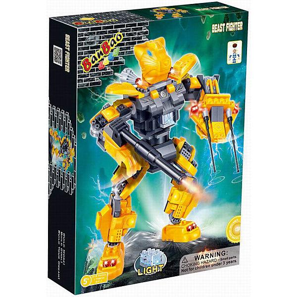 Конструктор Робот, эл/мех, со светом, BanBaoПластмассовые конструкторы<br>Создай своего несокрушимого, боевого, электромеханического робота, вооруженного до зубов! Конечности робота подвижны, за счет этого он невероятно устойчивый и маневренный. Кроме того, игрушка обладает световыми эффектами, которые приведут в восторг любого мальчишку. Конструирование - увлекательный и полезный процесс, развивающий мелкую моторику, мышление и фантазию. Все детали конструктора выполнены из высококачественного экологичного пластика, имеют идеально гладкую поверхность и прочно крепятся друг к другу. Прекрасный вариант для подарка на любой праздник. <br><br>Дополнительная информация:<br><br>- Конструктор развивает усидчивость, внимание, фантазию и мелкую моторику.<br>- Материал: пластик.<br>- Комплектация: 1 фигурка (помещается внутри робота), детали конструктора из которых собирается робот.<br>- Световые эффекты (загорается лампочка на груди).<br>- Элемент питания: батарейки (не входят в комплект).<br>- Количество деталей: 215<br>- Размер упаковки: 33 х 24 х 7 см.<br>- Цвет: желтый.<br>- Вес: 575 гр.<br><br>Конструктор Робот, эл\мех, со светом, BanBao (БанБао), можно купить в нашем магазине.<br><br>Ширина мм: 330<br>Глубина мм: 240<br>Высота мм: 70<br>Вес г: 575<br>Возраст от месяцев: 60<br>Возраст до месяцев: 144<br>Пол: Мужской<br>Возраст: Детский<br>SKU: 4411826