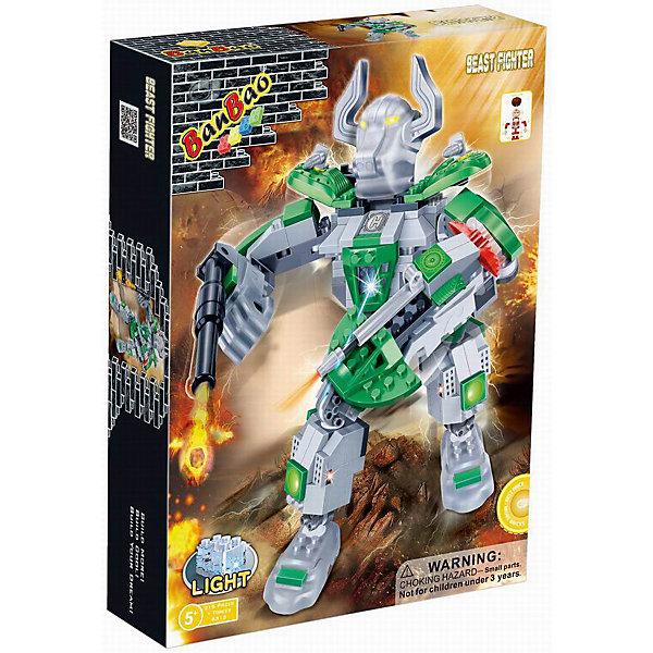 Конструктор Робот, эл/мех, со светом, BanBaoПластмассовые конструкторы<br>Создай своего несокрушимого, боевого, электромеханического робота, вооруженного до зубов! Конечности робота подвижны, за счет этого он невероятно устойчивый и маневренный. Кроме того, игрушка обладает световыми эффектами, которые приведут в восторг любого мальчишку. Конструирование - увлекательный и полезный процесс, развивающий мелкую моторику, мышление и фантазию. Все детали конструктора выполнены из высококачественного экологичного пластика, имеют идеально гладкую поверхность и прочно крепятся друг к другу. Прекрасный вариант для подарка на любой праздник. <br><br>Дополнительная информация:<br><br>- Конструктор развивает усидчивость, внимание, фантазию и мелкую моторику.<br>- Материал: пластик.<br>- Комплектация: 1 фигурка (помещается внутри робота), детали конструктора из которых собирается робот.<br>- Световые эффекты (загорается лампочка на груди).<br>- Элемент питания: батарейки (не входят в комплект).<br>- Количество деталей: 215<br>- Размер упаковки: 33 х 24 х 7 см.<br>- Цвет: зеленый.<br>- Вес: 575 гр.<br><br>Конструктор Робот, эл\мех, со светом, BanBao (БанБао), можно купить в нашем магазине.<br><br>Ширина мм: 330<br>Глубина мм: 240<br>Высота мм: 70<br>Вес г: 581<br>Возраст от месяцев: 60<br>Возраст до месяцев: 144<br>Пол: Мужской<br>Возраст: Детский<br>SKU: 4411827