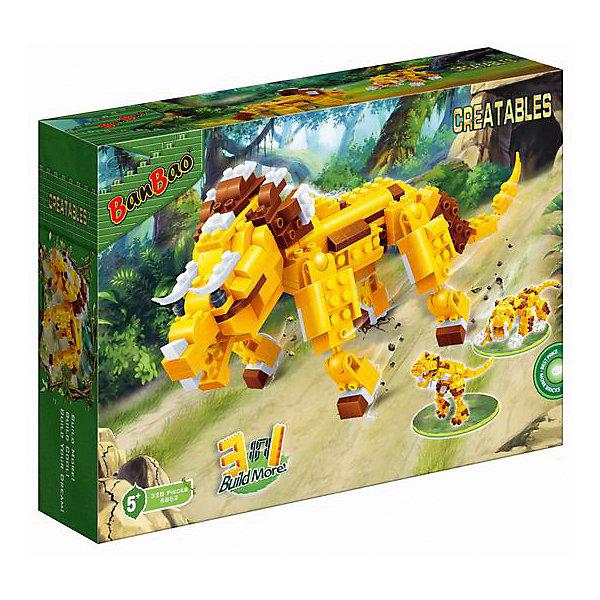 Конструктор Динозавр, 3 в 1, BanBaoПластмассовые конструкторы<br>С помощью этого набора ребенок сможет создать целых три фигурки. Соберите детали одним способом, и перед вами окажется мощный трицератопс, другим - грозно рычащий тираннозавр, третьим - саблезубый тигр. Игрушка обладает высокой детализацией и множеством правдоподобных элементов, что делает игрушку очень интересной для ребенка. Конструирование - увлекательный и полезный процесс, развивающий мелкую моторику, мышление и фантазию. Все детали набора выполнены из высококачественного экологичного пластика, имеют идеально гладкую поверхность и прочно крепятся друг к другу. Прекрасный вариант для подарка на любой праздник.  <br><br>Дополнительная информация:<br><br>- Конструктор развивает усидчивость, внимание, фантазию и мелкую моторику.<br>- Материал: пластик.<br>- Комплектация: детали конструктора, с помощью которых можно собрать одно из трех животных. <br>- Голова, лапы, хвост подвижные.<br>- Количество деталей: 236<br>- Размер упаковки: 33 x 7 x 24 см.<br><br>Конструктор Динозавр, 3 в 1, BanBao (БанБао), можно купить в нашем магазине.<br><br>Ширина мм: 330<br>Глубина мм: 240<br>Высота мм: 70<br>Вес г: 950<br>Возраст от месяцев: 60<br>Возраст до месяцев: 144<br>Пол: Унисекс<br>Возраст: Детский<br>SKU: 4411836