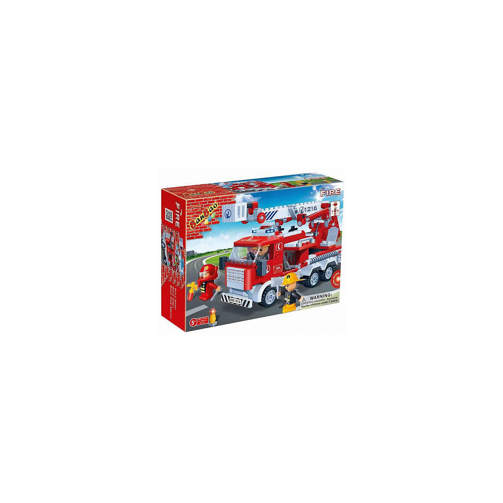 BanBao Конструктор Пожарная машина, BanBao машина пламенный мотор volvo v70 пожарная охрана 870189