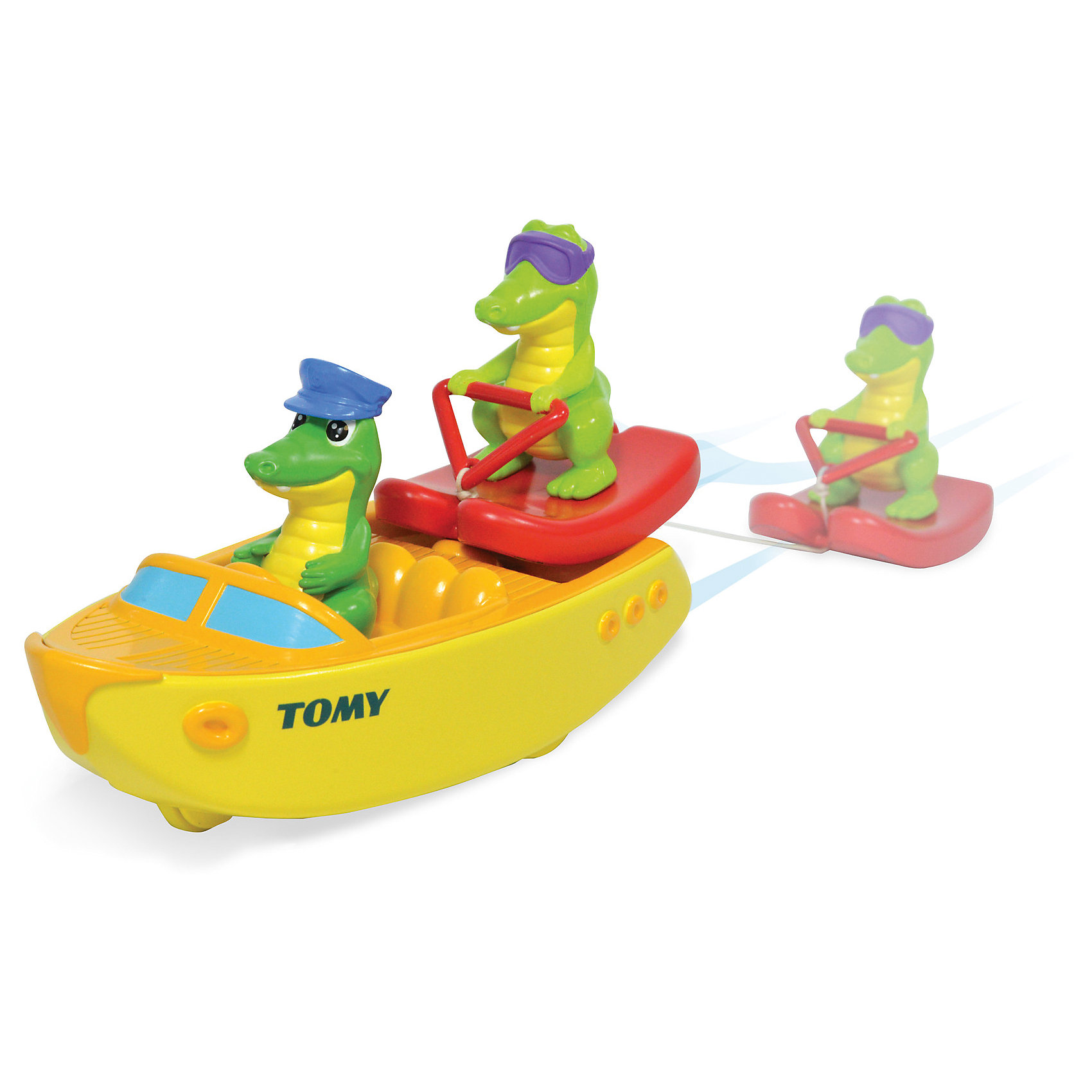 Крокодил на лодке, TOMYИгровые наборы<br>Крокодил на водных лыжах, Tomy - красочная привлекательная игрушка, которая превратит купание малыша в веселую увлекательную игру. Игрушка выполнена в виде моторной лодки с двумя забавными крокодильчиками - капитаном и пассажиром в солнечных очках на водных лыжах. Если потянуть лыжника за веревочку у лодки заведется мотор, она будет плыть по воде а крокодильчик ее догонять. Лодка оснащена маленькими колесиками, благодаря чему ее можно запускать и на полу. Игрушка изготовлена из высококачественного пластика, имеет крупные округлые формы, удобные и безопасные для малыша.<br><br>Дополнительная информация:<br><br>- В комплекте: катер с мотором, 2 фигурки крокодильчиков.<br>- Материал: пластик.<br>- Размер лодки: 19,5 х 8,5 х 3,5 см. <br>- Размер упаковки: 24 х 12 х 21 см.<br>- Вес: 0,38 кг.<br><br>Крокодил на водных лыжах, Tomy, можно купить в нашем интернет-магазине.<br><br>Ширина мм: 240<br>Глубина мм: 120<br>Высота мм: 210<br>Вес г: 380<br>Возраст от месяцев: 18<br>Возраст до месяцев: 36<br>Пол: Унисекс<br>Возраст: Детский<br>SKU: 4412203