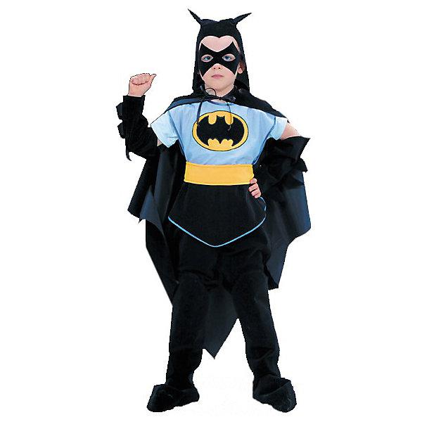 Карнавальный костюм Чёрный Плащ, БатикКарнавальные костюмы для мальчиков<br>Карнавальный костюм Чёрный Плащ обязательно понравится мальчишкам!  Дети обожают перевоплощаться; костюм состоит из множества деталей, позволяющих сделать образ лаконичным и законченным. Позвольте вашему ребенку почувствовать себя королем вечера и получить настоящее удовольствие от самого волшебного праздника в году! Костюм выполнен из высококачественных экологичных материалов, в производстве ткани использованы только безопасные, гипоаллергенные красители.<br><br>Дополнительная информация:<br><br>- Материал: текстиль.<br>- Цвет: черный, голубой, желтый. <br>- Комплектация: куртка, брюки, шапка, плащ, маска.<br>- Декоративные элементы: рисунок.  <br>- Параметры для размера 28:<br>- обхват груди: 56 см.<br>- рост: 110 см.<br><br>Карнавальный костюм Чёрный Плащ, Батик, можно купить в нашем магазине.<br><br>Ширина мм: 500<br>Глубина мм: 50<br>Высота мм: 700<br>Вес г: 600<br>Возраст от месяцев: 48<br>Возраст до месяцев: 60<br>Пол: Мужской<br>Возраст: Детский<br>Размер: 30,28<br>SKU: 4412715