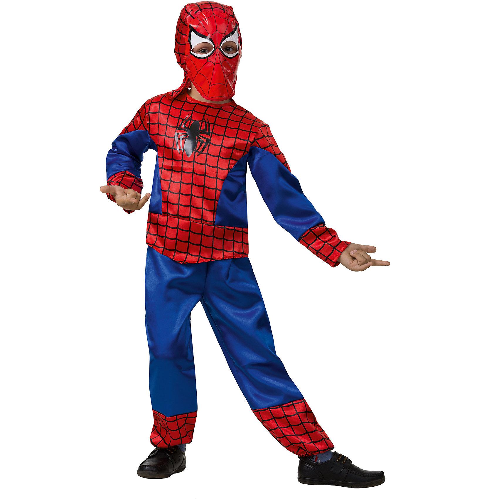 Карнавальный костюм Человек-Паук, БатикКарнавальные костюмы и аксессуары<br>Этот костюм приведет в восторг любого мальчишку! Наряд состоит из брюк и куртки с глубоким капюшоном, полностью закрывающим лицо и создающим иллюзию маски.  Дети обожают перевоплощаться, позвольте вашему ребенку почувствовать себя королем вечера и получить настоящее удовольствие от самого волшебного праздника в году! Костюм выполнен из высококачественных экологичных материалов, в производстве ткани использованы только безопасные, гипоаллергенные красители.<br><br>Дополнительная информация:<br><br>- Материал: текстиль.<br>- Цвет: красный, синий.<br>- Комплектация: куртка с капюшоном, брюки.<br>- Параметры для размера 28:<br>- рост: 104-110 см.<br>  <br>Карнавальный костюм Человек Паук (Spider Man), Батик  можно купить в нашем магазине.<br><br>Ширина мм: 500<br>Глубина мм: 50<br>Высота мм: 700<br>Вес г: 600<br>Цвет: разноцветный<br>Возраст от месяцев: 48<br>Возраст до месяцев: 60<br>Пол: Мужской<br>Возраст: Детский<br>Размер: 30,26,28<br>SKU: 4412732