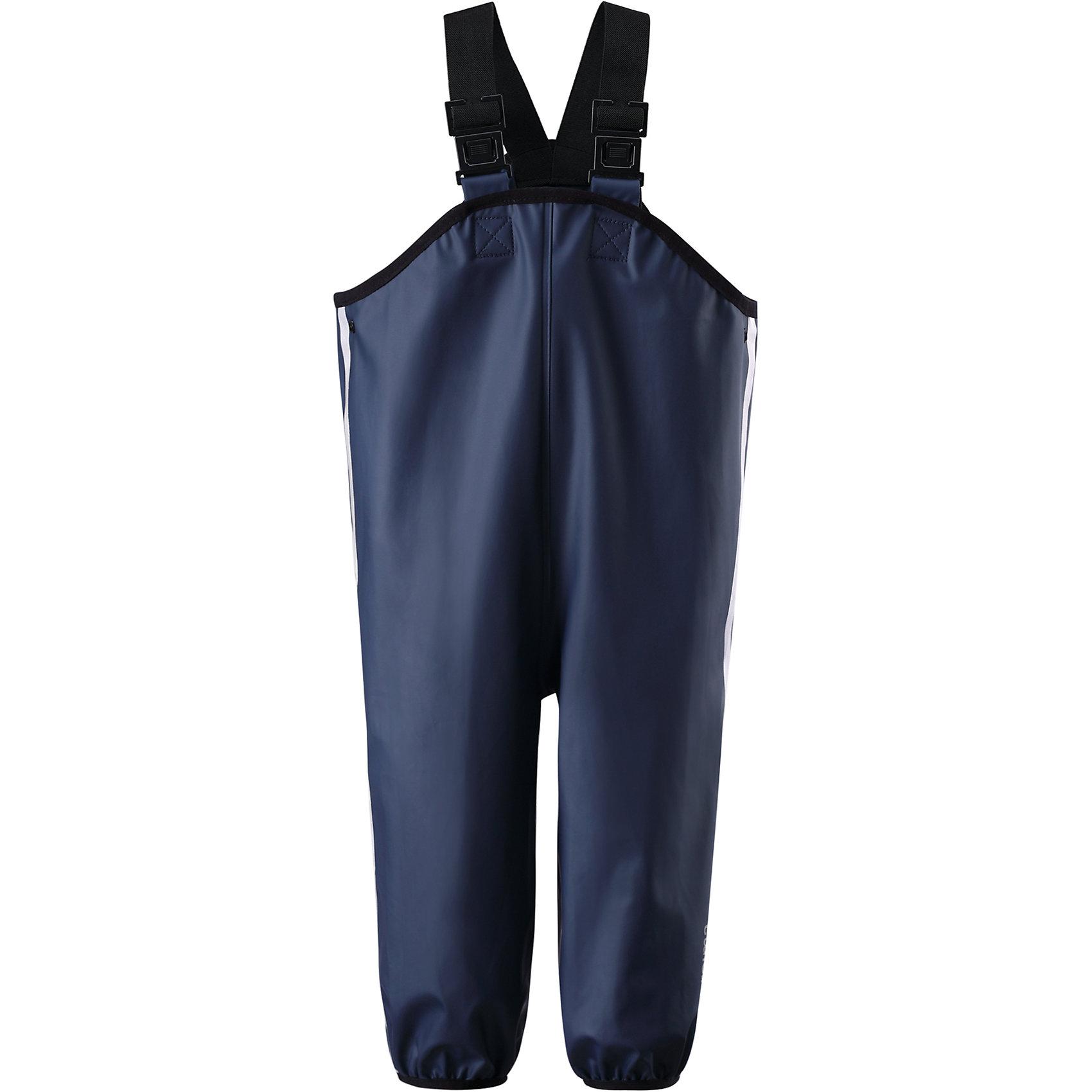 Брюки для мальчика ReimaМалыши и лужи - прекрасное сочетание! Но, только если есть надёжная защита. Эти классические брюки для дождливой погоды - беспроигрышный выбор. Они пошиты из эластичного ветронепроницаемого и отталкивающего грязь материала. Брюки очень прочные и не твердеют на морозе, поэтому их можно носить круглый год. Благодаря запаянным швам брюки полностью водонепроницаемы. Удобные эластичные подтяжки поддерживают брюки во время активных игр, а штрипки удерживают брючину на месте, закрывая голенище резиновых сапог. Без подкладки<br><br>Дополнительная информация:<br><br>Брюки для дождливой погоды для малышей и детей постарше<br>Эластичный, но прочный материал<br>Водонепроницаемые запаянные швы<br>Эластичные регулируемые подтяжки<br>Съёмные штрипки<br>Светоотражающие детали для безопасности<br><br>Брюки для мальчика Reima (Рейма) можно купить в нашем магазине.<br><br>Ширина мм: 215<br>Глубина мм: 88<br>Высота мм: 191<br>Вес г: 336<br>Цвет: темно-синий<br>Возраст от месяцев: 60<br>Возраст до месяцев: 72<br>Пол: Унисекс<br>Возраст: Детский<br>Размер: 80,110,116,92,74,98,104,122,128,86<br>SKU: 4412908