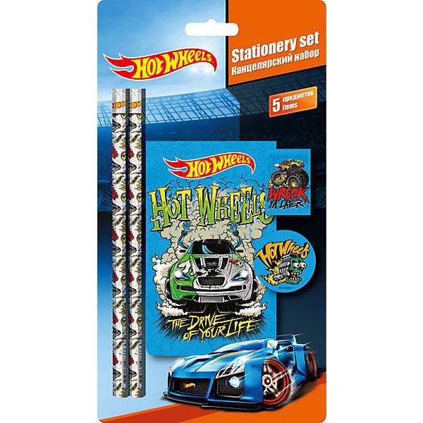 Канцелярский набор Hot Wheels (5 предметов)Hot Wheels<br>Канцелярский набор Hot Wheels (Хот Вилс) - практичный стильный набор со всеми необходимыми для маленького школьника принадлежностями. В комплект входят два чернографитных карандаша, ластик, точилка и блокнот. Все предметы выполнены в ярком красочном дизайне и украшены логотипами и изображениями популярных машинок Hot Wheels (Хот Вилс).<br><br>Дополнительная информация:<br><br>- В комплекте: чернографитный карандаш - 2 шт., ластик, точилка, блокнот.<br>- Размер упаковки: 24,8 х 12,8 х 1,5 см.<br>- Вес: 97 гр.<br><br>Канцелярский набор Hot Wheels (Хот Вилс) (5 предметов) можно купить в нашем интернет-магазине.<br><br>Ширина мм: 15<br>Глубина мм: 128<br>Высота мм: 248<br>Вес г: 97<br>Возраст от месяцев: 36<br>Возраст до месяцев: 120<br>Пол: Мужской<br>Возраст: Детский<br>SKU: 4413563