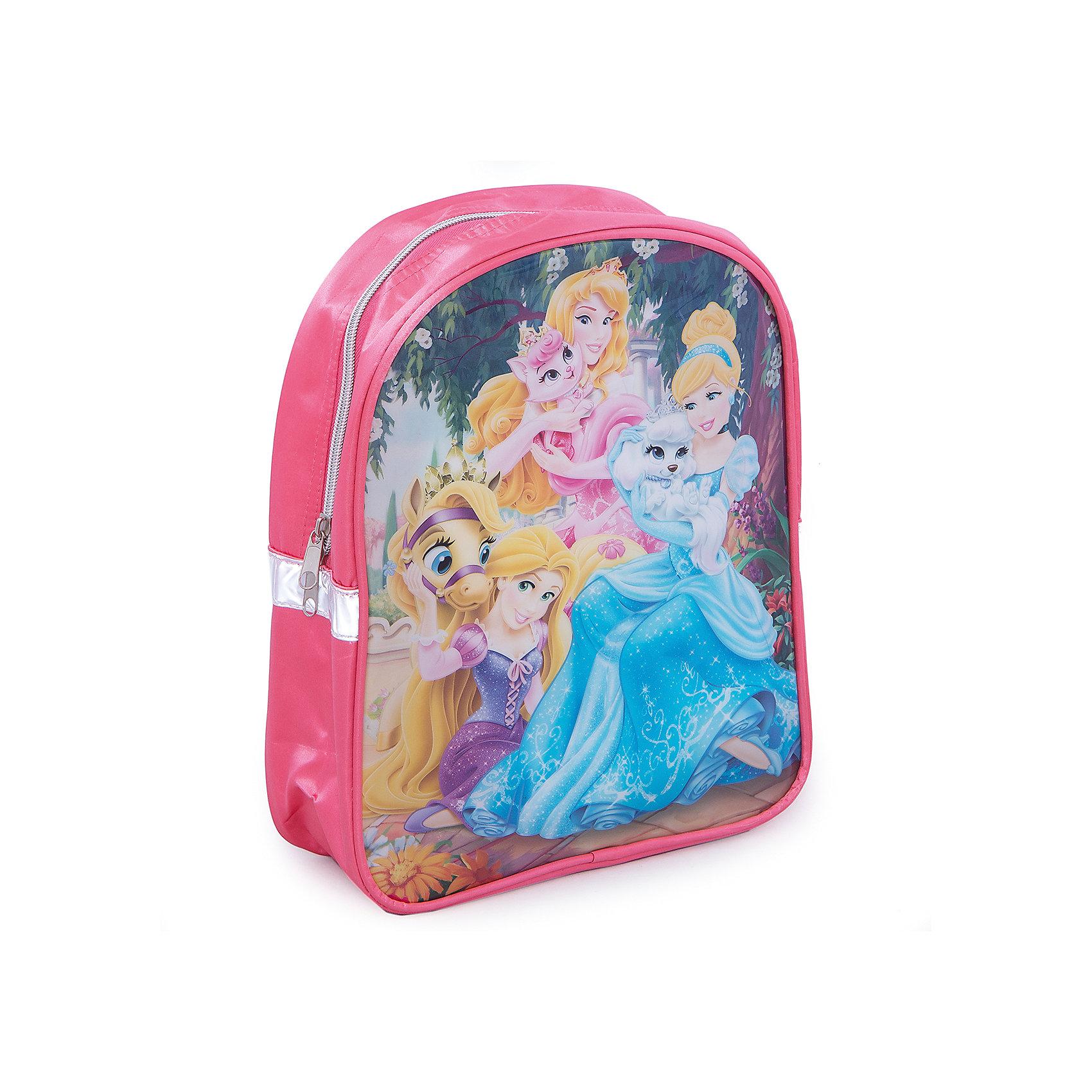 Дошкольный рюкзак ПринцессаПринцессы Дисней<br>Дошкольный рюкзак Принцесса - удобный стильный рюкзак, который замечательно подойдет для прогулок, поездок и путешествий. Рюкзак выполнен из прочного долговечного материала. Привлекательный дизайн с ярко-розовой расцветкой и нарядным изображением принцесс из диснеевских мультфильмов обязательно понравится Вашей девочке. Рюкзак застегивается на застежку-молнию, внутри одно вместительное отделение с небольшим кармашком на молнии. Оснащен удобными, регулируемыми по длине, широкими лямками. Также есть текстильная ручка, за которую можно нести рюкзак. Светоотражающие элементы обеспечивают безопасность в темное время суток. <br><br>Дополнительная информация:<br><br>- Материал: полиэстер, ПВХ (поливинилхлорид), текстиль, металл. <br>- Размер рюкзака: 23 х 9 х 28 см.  <br>- Размер упаковки: 32 х 25 х 10 см.<br>- Вес: 0,223 кг.<br><br>Дошкольный рюкзак Принцесса, Princess, можно купить в нашем интернет-магазине.<br><br>Ширина мм: 100<br>Глубина мм: 250<br>Высота мм: 320<br>Вес г: 223<br>Возраст от месяцев: 36<br>Возраст до месяцев: 84<br>Пол: Женский<br>Возраст: Детский<br>SKU: 4413566