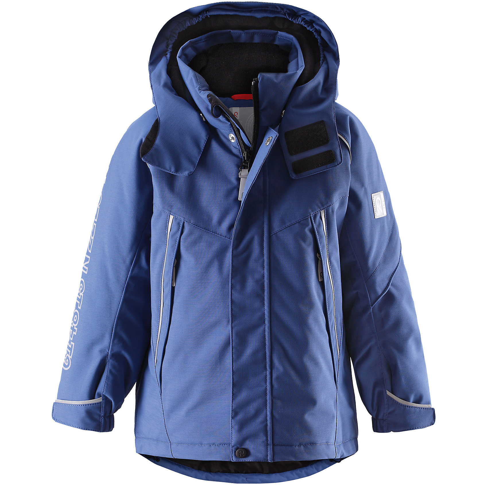Куртка Reimatec для мальчика ReimaЭта стильная функциональная зимняя куртка отлично смотрится как на склонах гор, так и в городе! Зимняя куртка Reimatec® (Рейматек) изготовлена ??из прочного водонепроницаемого материала и является must-have этой зимой. Ветронепроницаемый, но дышащий материал обеспечивает комфорт и не позволяет ребенку вспотеть во время продолжительного отдыха на открытом воздухе. Водо- и грязеотталкивающая поверхность и проклеенные швы предотвращают попадание воды и грязи. После стирки ее можно сушить в центрифуге! Гладкая подкладка из полиэстера позволяет легко надевать куртку. Обратите внимание, что куртка оснащена специальными кнопками Play Layers®, что позволяет пристегивать к ней промежуточный слой Reima® для дополнительного тепла и комфорта. На капюшоне имеется клапан, защищающий шею от ветра, и козырек, обеспечивающий видимость ребенка в темноте. Куртка регулируется на талии для хорошей посадки, манжеты регулируются с помощью липучки. Кроме карманов на молнии, на куртке имеется внутренний нагрудный карман и карман на рукаве для хранения карточки лыжного клуба. Видимость после захода солнца обеспечивается множеством светоотражающих принтов на рукаве, на котором указан адрес завода Reima. Проста в уходе, можно сушить в центрифуге.<br><br>Водонепроницаемая зимняя куртка для детей постарше, модель для мальчиков<br>Все швы проклеены, водонепроницаемы<br>Безопасный съемный капюшон со светоотражающим козырьком<br>На рукаве карман для карты лыжного клубы                                                                                             Два кармана на молнии<br>Подол регулируется<br>Безопасные светоотражающие детали<br>Состав:<br>100% ПА, ПУ-покрытие<br>Средняя степень утепления (до - 20)<br><br>Куртку для мальчика Reimatec® (Рейматек) Reima (Рейма) можно купить в нашем магазине.<br><br>Ширина мм: 356<br>Глубина мм: 10<br>Высота мм: 245<br>Вес г: 519<br>Цвет: синий<br>Возраст от месяцев: 18<br>Возраст до месяцев: 24<br>Пол: Мужской<br>Возраст