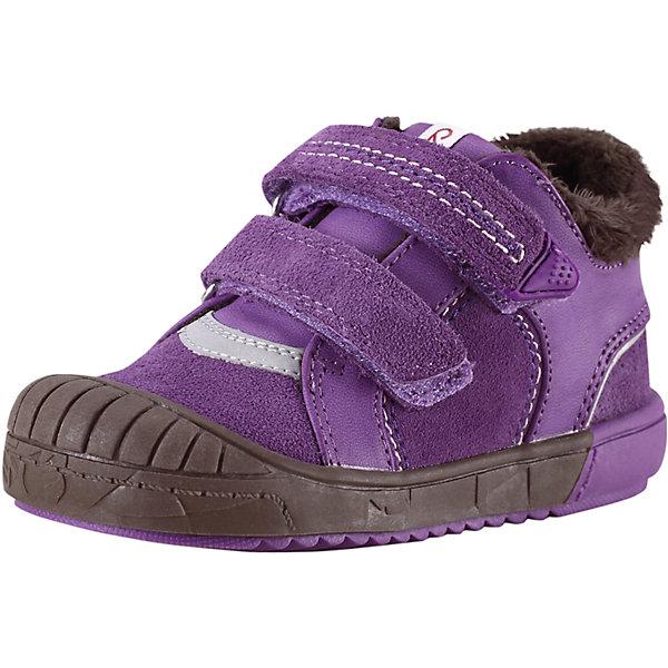 Ботинки  для девочки ReimaОбувь<br>Предлагаем вашим малышам прекрасную осеннюю обувь на подкладке из тёплого текстильного меха! Верх этих стильных кроссовок выполнен из прочной замши и простого в уходе синтетического материала. Эта обувь имеет тёплые съёмные стельки с удобным рисунком Happy Fit, который помогает правильно определить размер и измерить быстро растущую ножку ребёнка. Благодаря двойным ремешкам на липучках кроссовки легко обуваются и регулируются по ножке. Подошва из термопластичного каучука защищает маленькие пальчики во время весёлой прогулки и гарантирует хорошее сцепление с поверхностью. Светоотражающие детали обеспечивают дополнительную безопасность во время приключений после захода солнца.<br><br>Дополнительная информация:<br><br>Новинка от Reima® - кожаная обувь для малышей<br>Верх из замши и синтетического материала<br>Подкладка из текстильного меха<br>Ремешки на липучках легко застёгиваются<br>Светоотражающие детали<br>Стельки вынимаются, рисунок Happy Fit помогает правильно определить размер ноги<br>Гибкая подошва из термопластичного каучука<br><br>Ботинки  для девочки Reima (Рейма) можно купить в нашем магазине.<br><br>Ширина мм: 262<br>Глубина мм: 176<br>Высота мм: 97<br>Вес г: 427<br>Цвет: лиловый<br>Возраст от месяцев: 15<br>Возраст до месяцев: 18<br>Пол: Женский<br>Возраст: Детский<br>Размер: 22,20,25,27,26,21,23,24<br>SKU: 4414359