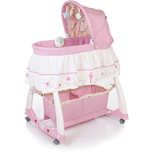 Кроватка-люлька Dream, Jetem, нежно-розовыйКолыбели-люльки для новорожденных<br>Детская кроватка-люлька Jetem Dream (Жетем Дрим) - удивительно красивая люлька, которая привнесет в Ваш дом атмосферу волшебства, гармонично впишется и украсит интерьер любой комнаты. Новорожденному малышу будет очень уютно в небольшом пространстве люльки. Капюшон закроет малыша от лампы или ночника, а дуга с игрушками поможет развлечь малыша и научить его концентрировать свое внимание на предметах. Колыбелька оснащена колесиками на которых удобно перемещать колыбель-люльку по детской комнате. Они легко убираются, и появляется возможность поперечного качания люльки с малышом. Колыбель-люлька Jetem Dream (Жетем Дрим) продумана и сконструирована для максимального комфорта малыша и молодой мамочки. Для этого люлька для новорожденного оснащена электронным блоком с системой вибрации и нежными колыбельными мелодиями, съемной дугой для укачивания. Все тканевые части снимаются для стирки. Под дном колыбельки расположена удобная корзина для детских принадлежностей.<br><br>Дополнительная информация:<br><br>- В комплекте: люлька, электронный блок, дуга с игрушками, корзина для подгузников, матрасик, комплект белья (полог + наматрасник), подробная инструкция по сборке;<br>- Безопасные высокие (21 см) бортики; <br>- Колесики, оснащенные стояночным тормозом, снимаются, можно укачивать малыша на дугах-качалках;<br>- Электронный блок с вибрацией и нежными, приятными новорожденному мелодиями, возможностью регулировать интенсивность вибрации; <br>- Вместительная сетчатая корзина для памперсов;<br>- Тканевые части можно снять и постирать; <br>- Съемный капюшон с регулируемым углом наклона;<br>- На капюшоне подвешены три игрушки, которые будут занимать ребенка во время его бодрствования;<br>- Для детей весом до 11 кг;<br>- Особенности музыкальной шкатулки: 3 мелодии, звуки живой природы и натуральные. Батарейки: 3хАА (в комплект не входят);<br>- Материал: пластик, металл;<br>- Размеры колыбели: (ВхДхШ) - 12