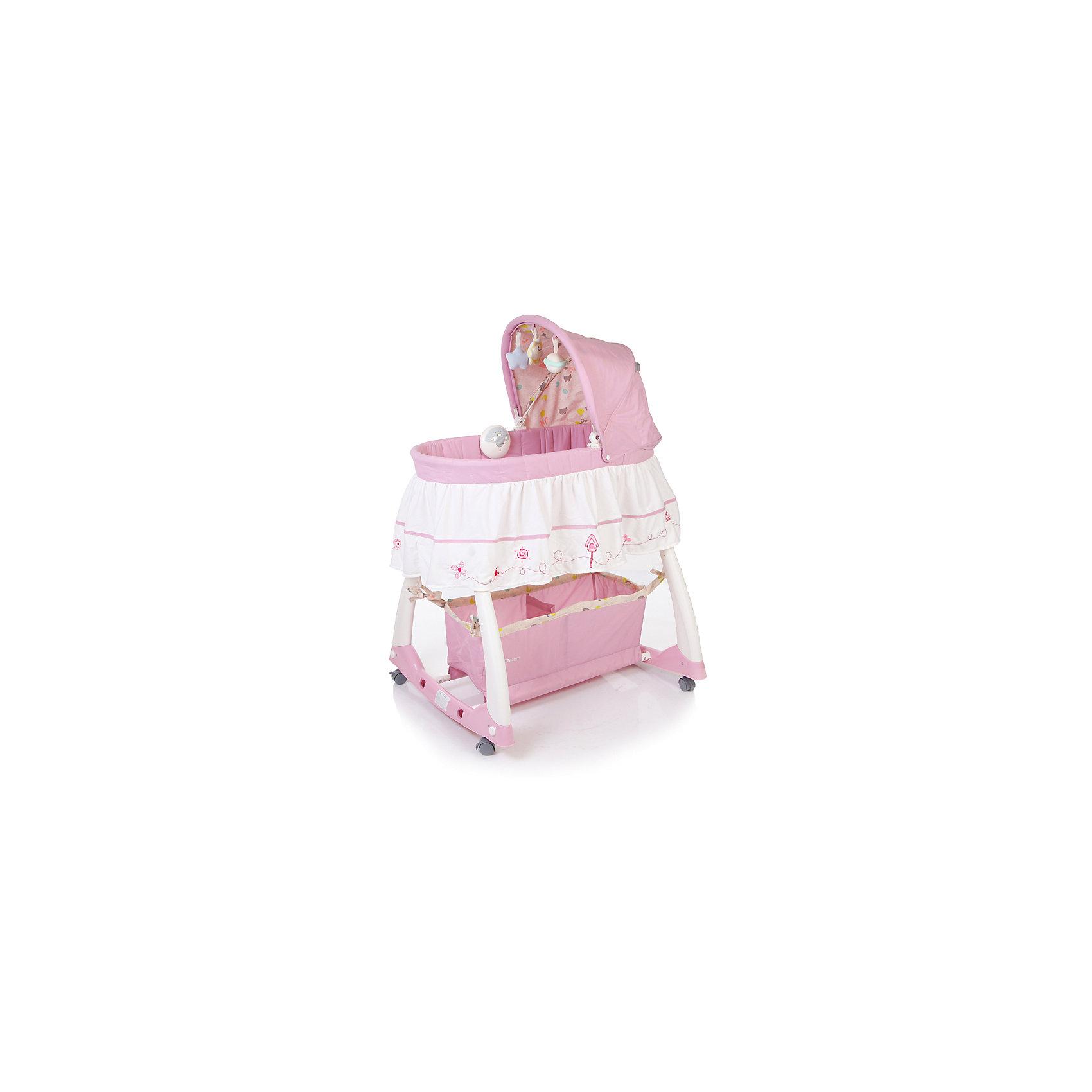 Кроватка-люлька Dream, Jetem, нежно-розовыйДетская кроватка-люлька Jetem Dream (Жетем Дрим) - удивительно красивая люлька, которая привнесет в Ваш дом атмосферу волшебства, гармонично впишется и украсит интерьер любой комнаты. Новорожденному малышу будет очень уютно в небольшом пространстве люльки. Капюшон закроет малыша от лампы или ночника, а дуга с игрушками поможет развлечь малыша и научить его концентрировать свое внимание на предметах. Колыбелька оснащена колесиками на которых удобно перемещать колыбель-люльку по детской комнате. Они легко убираются, и появляется возможность поперечного качания люльки с малышом. Колыбель-люлька Jetem Dream (Жетем Дрим) продумана и сконструирована для максимального комфорта малыша и молодой мамочки. Для этого люлька для новорожденного оснащена электронным блоком с системой вибрации и нежными колыбельными мелодиями, съемной дугой для укачивания. Все тканевые части снимаются для стирки. Под дном колыбельки расположена удобная корзина для детских принадлежностей.<br><br>Дополнительная информация:<br><br>- В комплекте: люлька, электронный блок, дуга с игрушками, корзина для подгузников, матрасик, комплект белья (полог + наматрасник), подробная инструкция по сборке;<br>- Безопасные высокие (21 см) бортики; <br>- Колесики, оснащенные стояночным тормозом, снимаются, можно укачивать малыша на дугах-качалках;<br>- Электронный блок с вибрацией и нежными, приятными новорожденному мелодиями, возможностью регулировать интенсивность вибрации; <br>- Вместительная сетчатая корзина для памперсов;<br>- Тканевые части можно снять и постирать; <br>- Съемный капюшон с регулируемым углом наклона;<br>- На капюшоне подвешены три игрушки, которые будут занимать ребенка во время его бодрствования;<br>- Для детей весом до 11 кг;<br>- Особенности музыкальной шкатулки: 3 мелодии, звуки живой природы и натуральные. Батарейки: 3хАА (в комплект не входят);<br>- Материал: пластик, металл;<br>- Размеры колыбели: (ВхДхШ) - 120 х 80 х 70 см;<br>- Размеры спальног