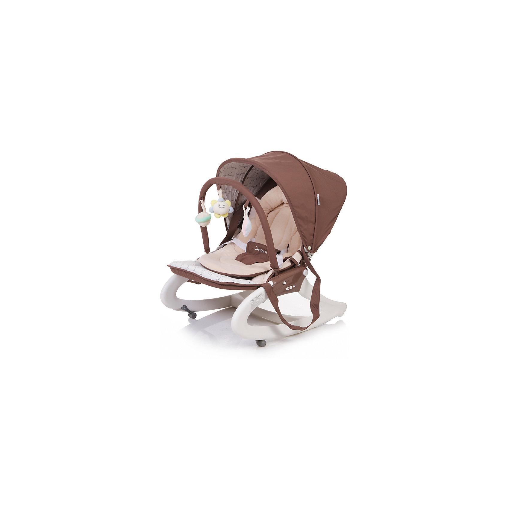 Шезлонг Premium, Jetem, бежево-коричневыйУютный и компактный шезлонг Premium, Jetem, (Жетем Премиум) станет абсолютно незаменимым помощником мамы в быту! Благодаря легкой трансформации он может превращаться из кресла в качалку, из сидения в люльку! Уютный шезлонг, благодаря которому Ваш малыш всегда будет под присмотром: он может играться в этом шезлонге с милейшими зверьками на дуге, может послушать одну из трех встроенных, чудесных песенок, а может и сладко подремать, ведь наклон спинки регулируется вплоть до горизонтального положения. Кроме того, у шезлонга есть мягкий подголовник и ортопедическая подкладка, которые замечательно подстроятся под телосложение малыша, а капюшон, с свою очередь, обезопасит малыша от солнечных лучей и сквозняков. Для удобной переноски шезлонга предусмотрена ручка. Приятная, нежная, благородная расцветка, без всяких сомнений, понравится как ребенку, так и родителям, и будет прекрасно сочетаться с любым интерьером!<br><br>Дополнительная информация:<br><br>- Комплект: шезлонг, ручка для переноски, капюшон, дуга с игрушками;<br>- Люлька, шезлонг и отличная переноска;<br>- Пятиточечные ремни безопасности;<br>- Виброблок с 2-мя скоростями вибрации;<br>- Музыкальный центр с 3-мя мелодиями;<br>- Регулируемый наклон спинки до горизонтального положения;<br>- Удобная ручка для переноски;<br>- Подголовник и ортопедическая подкладка;<br>- Подкладка быстро снимается для удобной чистки;<br>- Цвет: Brown;<br>- Размер внутреннего сидения: 38 х 52 х 34 см;<br>- Длина внутреннего сидения: 89 см;<br>- Вес: 3,7 кг<br><br>Шезлонг Premium, Jetem, (Жетем Премиум) бежево-коричневый, можно купить в нашем интернет-магазине.<br><br>Ширина мм: 460<br>Глубина мм: 420<br>Высота мм: 490<br>Вес г: 4600<br>Цвет: бежевый/коричневый<br>Возраст от месяцев: 0<br>Возраст до месяцев: 6<br>Пол: Унисекс<br>Возраст: Детский<br>SKU: 4414641