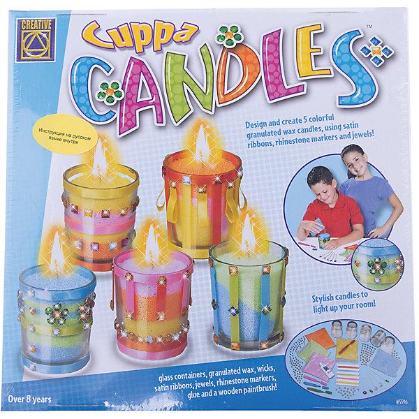 Дизайнерские свечи Стаканчики, CreativeНаборы для создания свечей<br>Дизайнерские свечи Стаканчики, Creative, придутся по душе всем любителям декоративного искусства, занимательный процесс изготовления свечей увлечет всю семью и даст возможность каждому проявить свою фантазию и художественный вкус. В наборе Вы найдете все необходимое для создания пяти декоративных свечей: стеклянные стаканчики, пакетики с восковыми гранулами, фитили, разноцветные ленты и поделочные камни для украшения и многое другое. Процесс изготовления прост и безопасен для детей: с помощью клея украсьте стенки и дно стеклянных подсвечников нарядными сатиновыми лентами и поделочными камешками. Когда клей подсохнет поместите в центр каждого стакана фитиль и наполните восковым гранулами нужного Вам цвета, разровняйте чайной ложечкой верхний слой песка - и оригинальная свеча готова! Нарядные свечи станут замечательным украшением интерьера или запоминающимся подарком для родных и друзей. Набор способствует развитию мелкой моторики, воображения, творческих и художественных способностей. <br><br>Дополнительная информация:<br><br>- В комплекте: 5 стеклянных стаканчиков, 5 пакетиков с восковыми гранулами 5 различных цветов, 5 восковых фитилей, 5 разноцветных сатиновых лент (длиной 1 м.), 160 поделочных камней, 4 специальных маркера разных цветов, тюбик с клеем, деревянная кисточка, инструкция.<br>- Материал: воск, стекло, пластик, текстиль.<br>- Размер стаканчиков: 5,5 х 5,5 х 6,5 см.<br>- Размер упаковки: 30 x 30 x 6 см.<br>- Вес: 1,233 кг.<br><br>Дизайнерские свечи Стаканчики, Creative, можно купить в нашем интернет-магазине.<br>Ширина мм: 300; Глубина мм: 300; Высота мм: 60; Вес г: 1233; Возраст от месяцев: 60; Возраст до месяцев: 144; Пол: Унисекс; Возраст: Детский; SKU: 4415309;