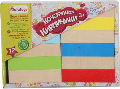 Деревянный конструктор Alatoys Кирпичики , 12 деталей (наполовину окрашенный)