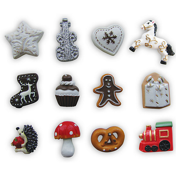 Набор сувениров на липучке Рождественские гадания (12 фигурок)Ёлочные игрушки<br>Набор Рождественские гадания поднимет Вам настроение в новогодние праздники и станет приятным сувениром для родных и друзей. В комплекте 12 симпатичных рождественских фигурок в виде звездочек, сердечка, бублика, грибка и другие. На обратной стороне имеется липучка. В инструкции Вы найдете информацию о значении фигурок в гадании.<br><br>Дополнительная информация:<br>- В комплекте: 12 фигурок.<br>- Материал: полистоун. <br>- Размер упаковки: 9,5 x 6,5 см.<br>- Вес: 0,694 кг. <br><br>Сувенир Рождественские гадания (12 фигурок) можно купить в нашем интернет-магазине.<br><br>Ширина мм: 50<br>Глубина мм: 50<br>Высота мм: 5<br>Вес г: 694<br>Возраст от месяцев: 36<br>Возраст до месяцев: 2147483647<br>Пол: Унисекс<br>Возраст: Детский<br>SKU: 4418886