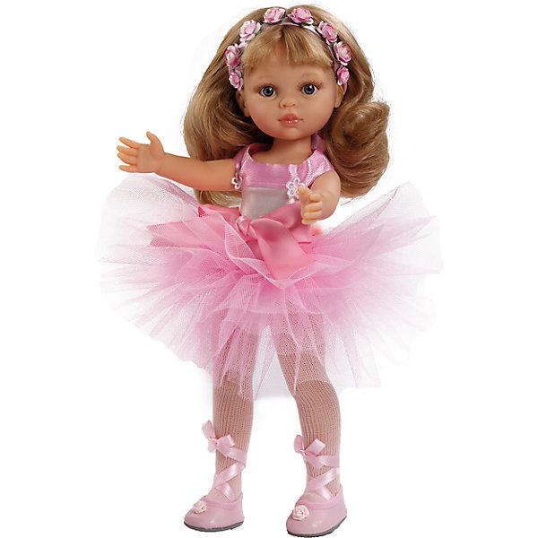 Кукла Карла балерина, 32см, Paola ReinaКуклы<br>Эта очаровательная куколка приведет в восторг любую девочку! Малышка Карла обожает танцевать. Она одета в чудесное балетное платье, с пышной юбкой, и обтягивающим лифом, декорированным нежными бантами. На ногах - белые колготы и пуанты с атласными лентами. Голову куколки украшает лента украшенная прекрасными цветами. Длинные белокурые волосы куклы очень приятно расчесывать и создавать из них всевозможные прически. Куклы Паола Рейна имеют нежный ванильный аромат, одеты в модную одежду с аксессуарами. Выразительная мимика, уникальный и неповторимый дизайн лица и тела делают эти игрушки запоминающимися и уникальными. Куклы изготовлены из высококачественного винила, без вредных примесей, абсолютно безопасны для детей. <br><br>Дополнительная информация:<br><br>- Материалы: кукла изготовлена из винила; глаза выполнены в виде кристалла из прозрачного твердого пластика; волосы сделаны из высококачественного нейлона, одежда - текстиль.<br>- Размер: 32 см.<br>- Комплектация: кукла в одежде и обуви. <br>- Голова, ручки, ножки куклы подвижные.<br>- Глаза не закрываются.<br><br>Куклу Карлу балерину, 32 см, Paola Reina (Паола Рейна), можно купить в нашем магазине.<br>Ширина мм: 110; Глубина мм: 230; Высота мм: 410; Вес г: 667; Возраст от месяцев: 36; Возраст до месяцев: 144; Пол: Женский; Возраст: Детский; SKU: 4420318;