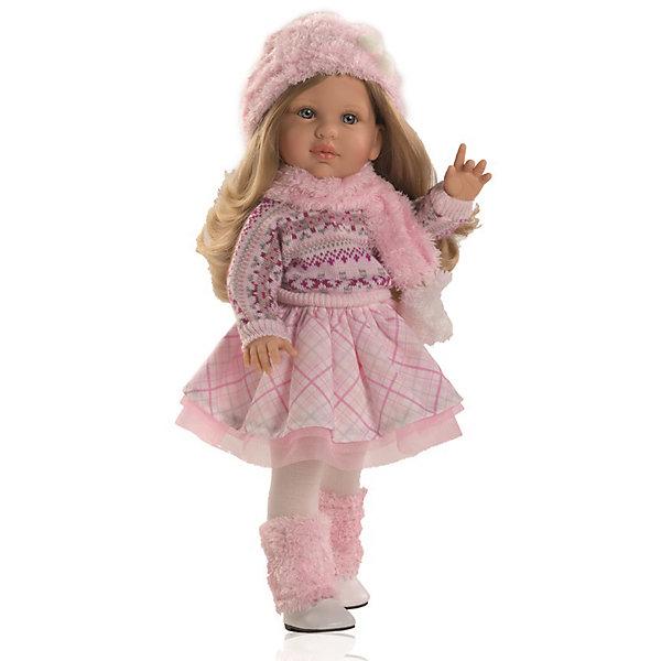 Кукла Одри, 40 см, Paola ReinaБренды кукол<br>Куклы из серии Сой Ту (Я это Ты) так похожи на маленьких девочек! Малышка Одри одета в пышную розовую юбочку и модный вязаный свитер. На ногах - колготы и милые сапожки с меховой отделкой. Завершают образ очаровательные аксессуары - меховой шарф и беретик. Длинные белокурые волосы куклы очень приятно расчесывать и создавать из них всевозможные прически. Куклы Паола Рейна имеют нежный ванильный аромат, одеты в модную одежду с аксессуарами. Выразительная мимика, уникальный и неповторимый дизайн лица и тела делают эти игрушки запоминающимися и уникальными. Куклы изготовлены из высококачественного винила, без вредных примесей, абсолютно безопасны для детей. <br><br>Дополнительная информация:<br><br>- Материалы: кукла изготовлена из винила; глаза выполнены в виде кристалла из прозрачного твердого пластика; волосы сделаны из высококачественного нейлона, одежда - текстиль.<br>- Размер: 40 см.<br>- Комплектация: кукла в одежде и обуви. <br>- Голова, ручки, ножки куклы подвижные.<br><br>Кукла Одри, 40 см, Paola Reina (Паола Рейна), можно купить в нашем магазине.<br><br>Ширина мм: 250<br>Глубина мм: 120<br>Высота мм: 500<br>Вес г: 1333<br>Возраст от месяцев: 36<br>Возраст до месяцев: 144<br>Пол: Женский<br>Возраст: Детский<br>SKU: 4420319