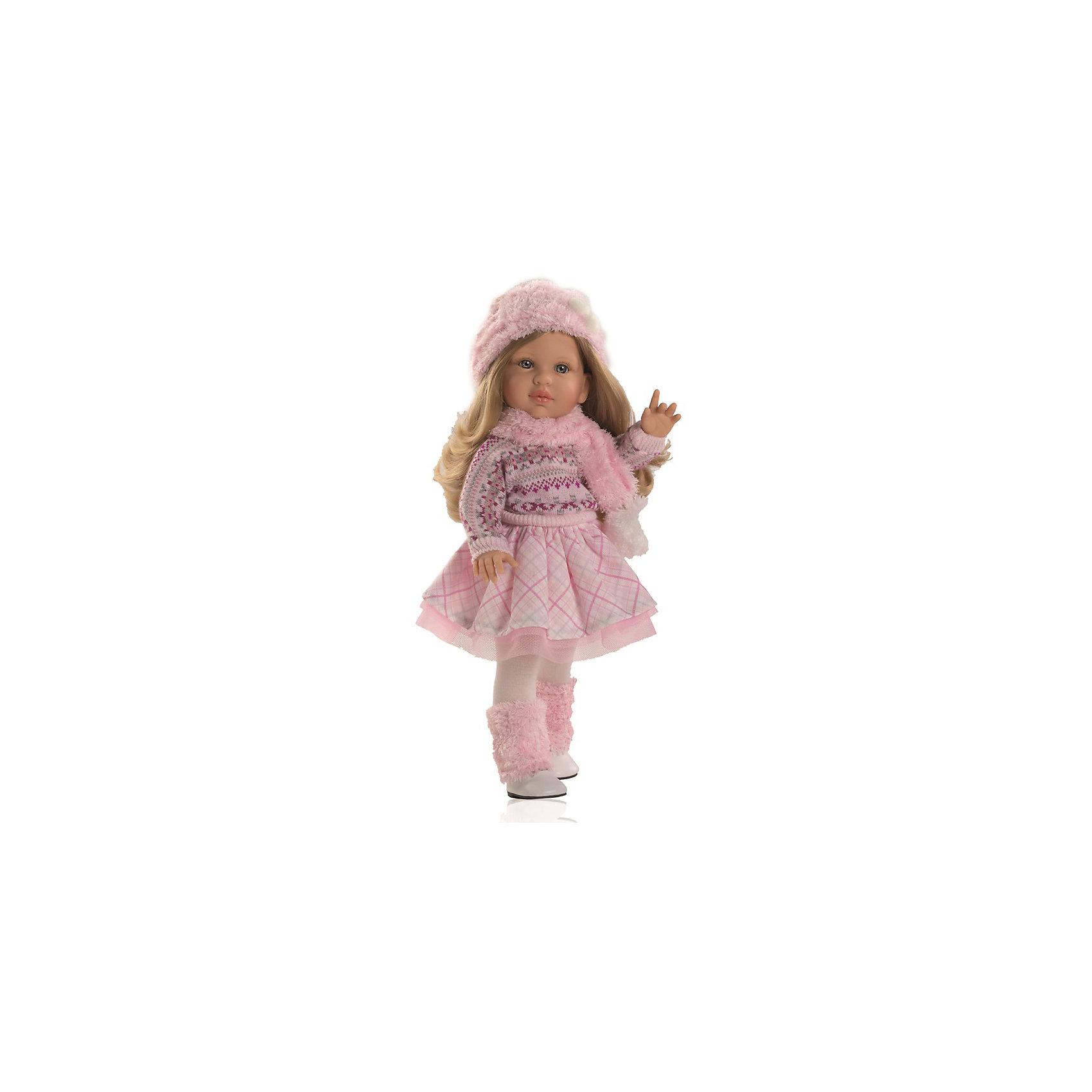 Кукла Одри, 40 см, Paola ReinaКлассические куклы<br>Куклы из серии Сой Ту (Я это Ты) так похожи на маленьких девочек! Малышка Одри одета в пышную розовую юбочку и модный вязаный свитер. На ногах - колготы и милые сапожки с меховой отделкой. Завершают образ очаровательные аксессуары - меховой шарф и беретик. Длинные белокурые волосы куклы очень приятно расчесывать и создавать из них всевозможные прически. Куклы Паола Рейна имеют нежный ванильный аромат, одеты в модную одежду с аксессуарами. Выразительная мимика, уникальный и неповторимый дизайн лица и тела делают эти игрушки запоминающимися и уникальными. Куклы изготовлены из высококачественного винила, без вредных примесей, абсолютно безопасны для детей. <br><br>Дополнительная информация:<br><br>- Материалы: кукла изготовлена из винила; глаза выполнены в виде кристалла из прозрачного твердого пластика; волосы сделаны из высококачественного нейлона, одежда - текстиль.<br>- Размер: 40 см.<br>- Комплектация: кукла в одежде и обуви. <br>- Голова, ручки, ножки куклы подвижные.<br><br>Кукла Одри, 40 см, Paola Reina (Паола Рейна), можно купить в нашем магазине.<br><br>Ширина мм: 250<br>Глубина мм: 120<br>Высота мм: 500<br>Вес г: 1333<br>Возраст от месяцев: 36<br>Возраст до месяцев: 144<br>Пол: Женский<br>Возраст: Детский<br>SKU: 4420319