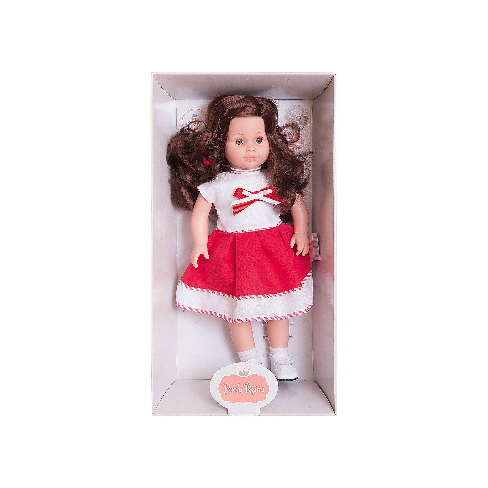 Кукла Вики, 47 см, Paola ReinaБренды кукол<br>Эта очаровательная куколка приведет в восторг любую девочку! Кукла имеет мягконабивное тело и скелетный каркас, благодаря этому у нее вращаются руки и ноги (вдоль тела и на 360 градусов). Тело куклы может немного сгибаться в талии. Очаровательная Вики так похожа на маленькую озорную девочку! Она одета в милое бело-красное платье, украшенное тесьмой и бантиком, на ногах - белые носочки и маленькие туфельки. Темные блестящие волосы куколки так приятно расчесывать, создавая всевозможные прически. Куклы Паола Рейна имеют нежный ванильный аромат, одеты в модную одежду с аксессуарами. Выразительная мимика, уникальный и неповторимый дизайн лица и тела делают эти игрушки запоминающимися и уникальными. Куклы изготовлены из высококачественных нетоксичных материалов, абсолютно безопасны для детей. <br><br>Дополнительная информация:<br><br>- Материалы: кукла изготовлена из винила и текстиля; глаза выполнены в виде кристалла из прозрачного твердого пластика; волосы сделаны из высококачественного нейлона, одежда - текстиль.<br>- Размер: 47 см.<br>- Комплектация: кукла в одежде и обуви. <br>- Голова, ручки, ножки куклы подвижные.<br>- Мягконабивное тело.<br>- Нельзя мыть.<br>- Глаза закрываются.<br><br>Куклу Вики, 47 см, Paola Reina (Паола Рейна), можно купить в нашем магазине.<br><br>Ширина мм: 290<br>Глубина мм: 155<br>Высота мм: 540<br>Вес г: 1500<br>Возраст от месяцев: 36<br>Возраст до месяцев: 144<br>Пол: Женский<br>Возраст: Детский<br>SKU: 4420321
