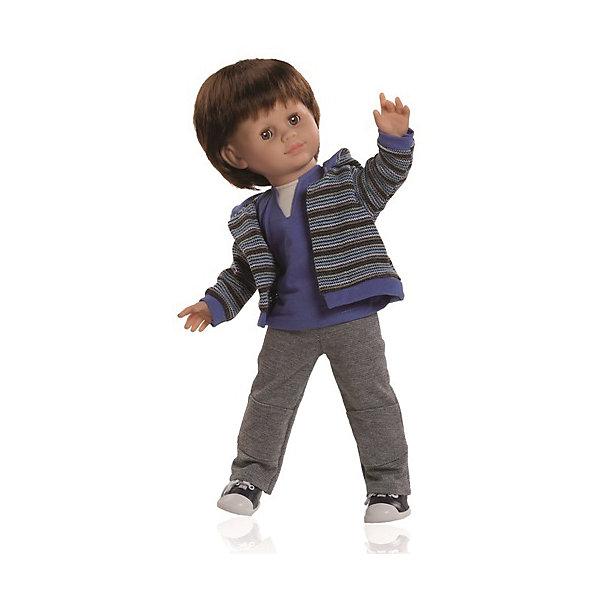 Кукла Унай, 47 см, Paola ReinaКуклы<br>Этот очаровательный сорванец Унай так похож на маленького озорного мальчишку! Кукла имеет мягконабивное тело и скелетный каркас, благодаря этому у нее вращаются руки и ноги (вдоль тела и на 360 градусов). Тело куклы может немного сгибаться в талии. Костюм Уная состоит из удобных штанишек, мягкой водолазки и стильной полосатой толстовки. На ногах - кроссовки. Куклы Паола Рейна имеют нежный ванильный аромат, одеты в модную одежду с аксессуарами. Выразительная мимика, уникальный и неповторимый дизайн лица и тела делают эти игрушки запоминающимися и уникальными. Куклы изготовлены из высококачественных нетоксичных материалов, абсолютно безопасны для детей. <br><br>Дополнительная информация:<br><br>- Материалы: кукла изготовлена из винила и текстиля; глаза выполнены в виде кристалла из прозрачного твердого пластика; волосы сделаны из высококачественного нейлона, одежда - текстиль.<br>- Размер: 47 см.<br>- Комплектация: кукла в одежде и обуви. <br>- Голова, ручки, ножки куклы подвижные.<br>- Мягконабивное тело.<br>- Нельзя мыть.<br>- Глаза закрываются.<br><br>Куклу Уная 47 см, Paola Reina (Паола Рейна), можно купить в нашем магазине.<br><br>Ширина мм: 290<br>Глубина мм: 155<br>Высота мм: 540<br>Вес г: 1500<br>Возраст от месяцев: 36<br>Возраст до месяцев: 144<br>Пол: Женский<br>Возраст: Детский<br>SKU: 4420324