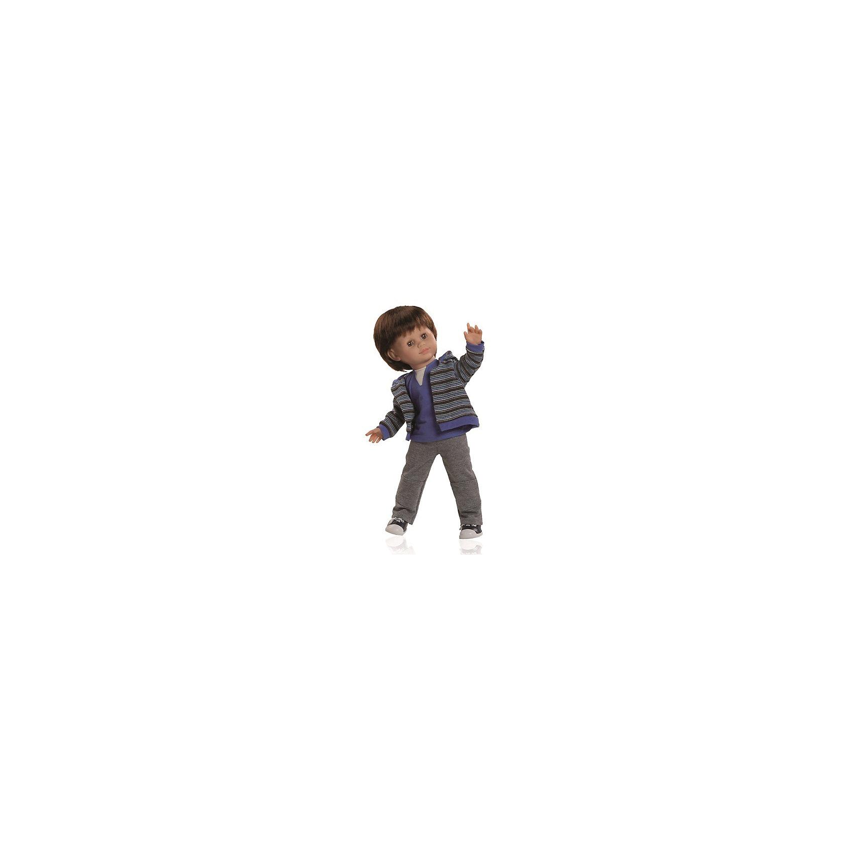 Кукла Унай, 47 см, Paola ReinaЭтот очаровательный сорванец Унай так похож на маленького озорного мальчишку! Кукла имеет мягконабивное тело и скелетный каркас, благодаря этому у нее вращаются руки и ноги (вдоль тела и на 360 градусов). Тело куклы может немного сгибаться в талии. Костюм Уная состоит из удобных штанишек, мягкой водолазки и стильной полосатой толстовки. На ногах - кроссовки. Куклы Паола Рейна имеют нежный ванильный аромат, одеты в модную одежду с аксессуарами. Выразительная мимика, уникальный и неповторимый дизайн лица и тела делают эти игрушки запоминающимися и уникальными. Куклы изготовлены из высококачественных нетоксичных материалов, абсолютно безопасны для детей. <br><br>Дополнительная информация:<br><br>- Материалы: кукла изготовлена из винила и текстиля; глаза выполнены в виде кристалла из прозрачного твердого пластика; волосы сделаны из высококачественного нейлона, одежда - текстиль.<br>- Размер: 47 см.<br>- Комплектация: кукла в одежде и обуви. <br>- Голова, ручки, ножки куклы подвижные.<br>- Мягконабивное тело.<br>- Нельзя мыть.<br>- Глаза закрываются.<br><br>Куклу Уная 47 см, Paola Reina (Паола Рейна), можно купить в нашем магазине.<br><br>Ширина мм: 290<br>Глубина мм: 155<br>Высота мм: 540<br>Вес г: 1500<br>Возраст от месяцев: 36<br>Возраст до месяцев: 144<br>Пол: Женский<br>Возраст: Детский<br>SKU: 4420324