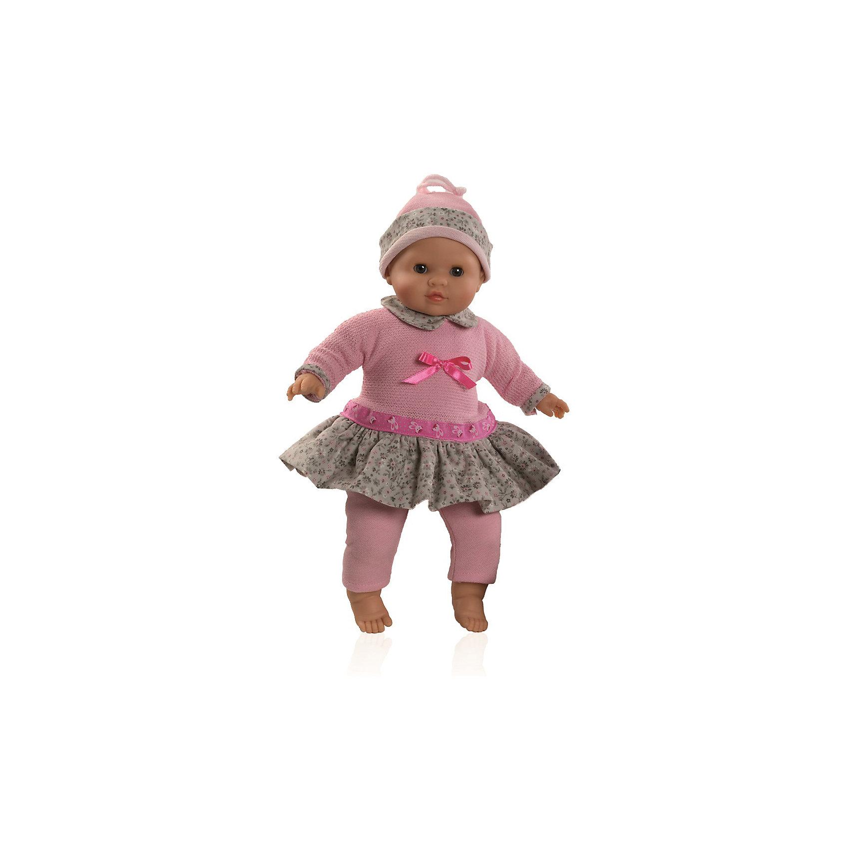 Кукла Эми, 36 см, Paola ReinaКлассические куклы<br>Малышка Эми так похожа на настоящего младенца, что ее хочется тут же взять на руки и укачать! Куколка одета в нежно-розовое платье с пышной юбкой с цветочным принтом, декорированное милым бантиком. На голове у Эми очаровательная шапочка в тон платью, на ногах - розовые леггинсы. Складочки на ручках и ножках придают куколке еще больше реалистичности. На голове у нее рельефная поверхность, имитирующая волосы. Куклы Паола Рейна с мягконабивным телом, имеют нежный ванильный аромат, одеты в модную яркую одежду с аксессуарами. Выразительная мимика, уникальный и неповторимый дизайн лица и тела, делают эти игрушки запоминающимися, уникальными и самыми любимыми. Куклы изготовлены из высококачественных материалов, абсолютно безопасных для детей. <br><br>Дополнительная информация:<br><br>- Материалы: кукла изготовлена из винила и текстиля; глаза выполнены в виде кристалла из прозрачного твердого пластика; одежда - текстиль.<br>- Размер: 36 см.<br>- Комплектация: кукла в одежде.<br>- Голова, ручки, ножки куклы подвижные.<br>- Мягконабивное тело.<br>- Нельзя мыть.<br>- Глаза закрываются.<br><br>Куклу Эми, 36 см, Paola Reina (Паола Рейна), можно купить в нашем магазине.<br><br>Ширина мм: 120<br>Глубина мм: 250<br>Высота мм: 420<br>Вес г: 1000<br>Возраст от месяцев: 36<br>Возраст до месяцев: 144<br>Пол: Женский<br>Возраст: Детский<br>SKU: 4420326