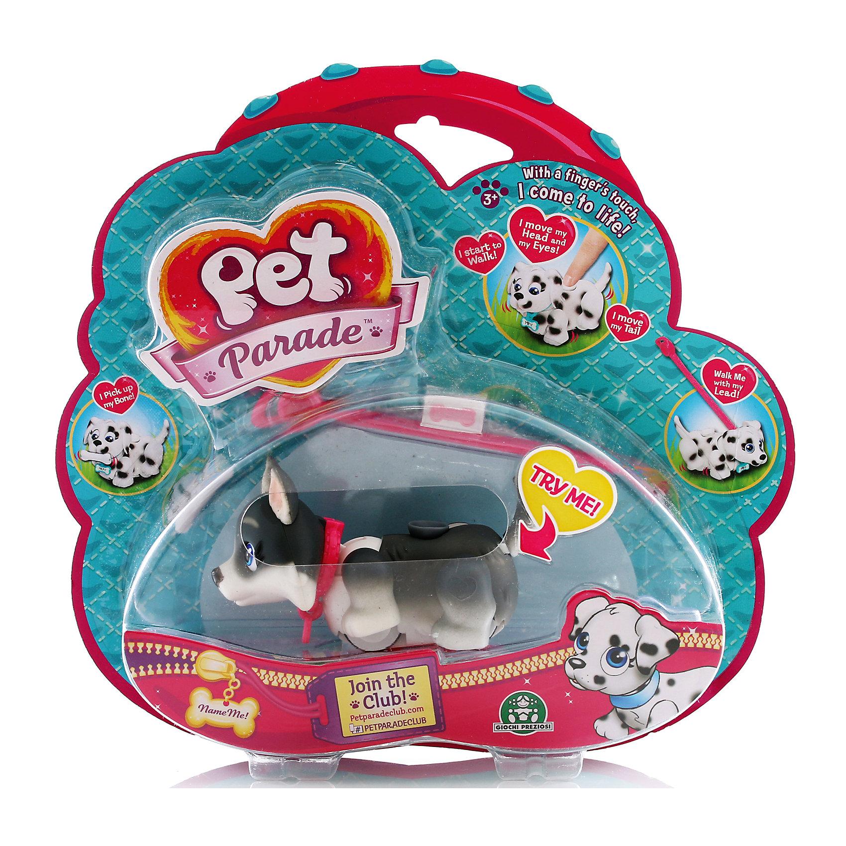 Фигурка собачки в комплекте с косточкой и поводком, Pet Parade, в ассортиментеОчаровательный щенок обязательно понравится детям. Щенок забавно двигает лапками при ходьбе. При желании, можно присоединить специальный поводок розового или голубого цвета к ошейнику. На спинке расположен джойстик, с помощью которого можно управлять головой, хвостиком и глазами. <br>Щенок может взаимодействовать с аксессуарами. Например, благодаря встроенным магнитам, подбирать свою косточку или следовать за ней.<br>На ошейнике каждого щенка есть бирка в виде косточки, на которой можно написать имя своего любимца! <br><br>Дополнительная информация:<br><br>- Материал: пластик.<br>- Размер игрушки: 9 см.<br>- Комплектация: собачка, поводок, ошейник, косточка.<br>- Передвигает лапами во время ходьбы.<br>- Берет косточку.<br>- Глаза, голова, хвостик подвижные. <br>- Одна собачка в наборе.<br>- 6 пород в ассортименте: Лабрадор, Мопс, Йоркширский терьер, Бордер-Колли, Хаски и Далматин. <br>ВНИМАНИЕ! Данный артикул представлен в разных вариантах исполнения. К сожалению, заранее выбрать определенный вариант невозможно. При заказе нескольких собачек возможно получение одинаковых.<br><br>Фигурку собачки в комплекте с косточкой и поводком, Pet Parade (Пет Парад), в ассортименте, можно купить в нашем магазине.<br><br>Ширина мм: 220<br>Глубина мм: 210<br>Высота мм: 60<br>Вес г: 152<br>Возраст от месяцев: 36<br>Возраст до месяцев: 120<br>Пол: Женский<br>Возраст: Детский<br>SKU: 4422653