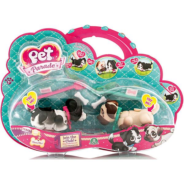 Фигурки собачек в комплекте с косточками и поводком, Pet ParadeИнтерактивные игрушки для малышей<br>Очаровательные щенки обязательно понравится детям. Щенки забавно двигают лапками при ходьбе. При желании, можно присоединить специальный поводок розового или голубого цвета к ошейнику. На спинке расположен джойстик, с помощью которого можно управлять головой, хвостиком и глазами. <br>Щенки могут взаимодействовать с аксессуарами. Например, благодаря встроенным магнитам, подбирать свою косточку или следовать за ней.<br>На ошейнике каждого щенка есть бирка в виде косточки, на которой можно написать имя своего любимца! <br><br>Дополнительная информация:<br><br>- Материал: пластик.<br>- Размер игрушки: 9 см.<br>- Комплектация: 2 собачки, 2 поводка, 2 косточки, 2 ошейника.<br>- Передвигают лапами во время ходьбы.<br>- Берут косточку.<br>- Глаза, голова, хвостик подвижные. <br>- Две собачки в наборе.<br>- 3 набора в ассортименте: Хаски и Лабрадор, Далматинец и Йоркширский терьер,<br>Бордер-колли и Мопс.<br>ВНИМАНИЕ! Данный артикул представлен в разных вариантах исполнения. К сожалению, заранее выбрать определенный вариант невозможно. При заказе нескольких собачек возможно получение одинаковых.<br><br>Фигурки собачек в комплекте с косточками и поводками, Pet Parade (Пет Парад), в ассортименте, можно купить в нашем магазине.<br><br>Ширина мм: 295<br>Глубина мм: 210<br>Высота мм: 60<br>Вес г: 272<br>Возраст от месяцев: 36<br>Возраст до месяцев: 120<br>Пол: Женский<br>Возраст: Детский<br>SKU: 4422654