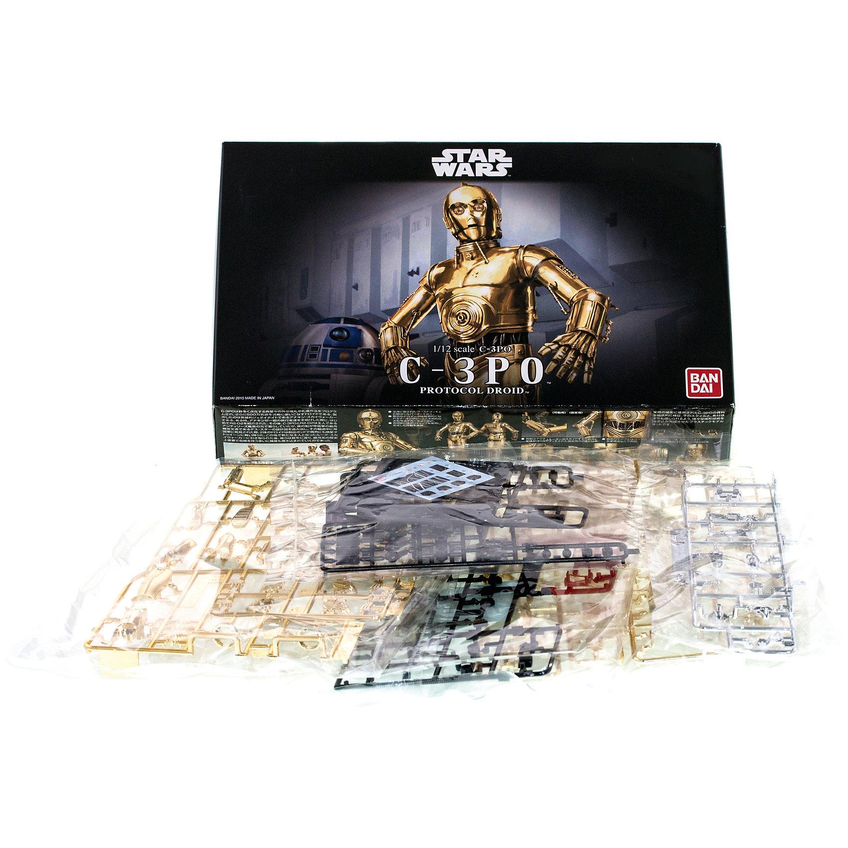 Сборная модель C-3PO 1/12, Звездные ВойныСборные модели транспорта<br>Этот набор приведет в восторг все поклонников легендарной саги Star Wars. В комплект входит набор деталей для сборки фигуры Протокольного Дроида (робота-андроида) – «Три-Пи-О», забавного персонажа, участвующего во многих эпизодах киносаги «Звёздные Войны» и отличающегося редким «занудством» характера. Самой яркой особенностью его внешнего вида является золотое покрытие корпуса, которым он очень гордится. Фигура C-3PO выполнена  из качественного пластика с металлизированным золотистым покрытием (кроме правой голени – которая, как и в фильме осталась серебристой), она имеет подвижные руки, ноги, туловище и голову, благодаря чему способна принимать разнообразные реалистичные позы. В качестве аксессуаров модель комплектуется подставкой, изображающей пол внутри Имперской космической станции «Звезда Смерти», несколькими вариантами панелей лица (нормальной и с сюжетными повреждениями), двумя вариантами кистей рук и другими приятными дополнениями. Вся продукция фирмы Bandai лицензирована фирмами правообладателями, а это гарантирует её высокое качество и безопасность.<br>Конструирование - интереснейший процесс, позволяющий развить у ребенка мелкую моторику, логическое мышление, внимание, умение работать по инструкции.<br><br>Дополнительная информация:<br><br>- Масштаб: 1:12 <br>- Материал: пластик.<br>- Размер упаковки: 30х20 см.<br>- Размер Дроида: 14,5 см.<br>- Подвижные руки, ноги, туловище.<br>- Два варианта кистей рук.<br>- Несколько вариантов панелей лица.<br><br>Сборную модель C-3PO 1/12, Звездные Войны (Star Wars), можно купить в нашем магазине.<br><br>Ширина мм: 300<br>Глубина мм: 190<br>Высота мм: 65<br>Вес г: 353<br>Возраст от месяцев: 72<br>Возраст до месяцев: 192<br>Пол: Мужской<br>Возраст: Детский<br>SKU: 4422662