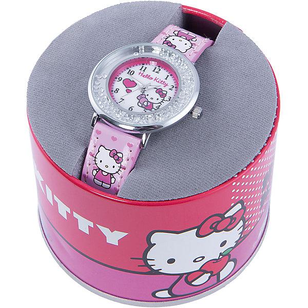 Часы наручные аналоговые, Hello KittyHello Kitty<br>Эксклюзивные наручные аналоговые часы торговой марки Hello Kitty выполнены по индивидуальному дизайну ООО «Детское Время» и лицензии компании Sanrio. Обилие деталей - декоративных элементов (страз, мерцающих ремешков), надписей,  уникальных изображений - делают изделие тщательно продуманным творением мастеров. Часы имеют высококачественный японский кварцевый механизм и отличаются надежностью и точностью хода. Часы водоустойчивы и обладают достаточной герметичностью, чтобы спокойно перенести случайный и незначительный контакт с жидкостями (дождь, брызги), но они не предназначены для плавания или погружения в воду. Циферблат защищен от повреждений прочным минеральным стеклом. Корпус часов выполнен из стали,  задняя крышка из нержавеющей стали. Материал браслета: искусственная кожа. Единица товара упаковывается в стильную подарочную коробочку. Неповторимый стиль с изобилием насыщенных и в тоже время нежных гамм; надежность и прочность изделия позволяют говорить о нем только в превосходной степени!Размеры изделия: 1,5х0,1х21 (ДШВ), диаметр циф-та - 3,5 см<br><br>Ширина мм: 170<br>Глубина мм: 157<br>Высота мм: 67<br>Вес г: 117<br>Возраст от месяцев: 36<br>Возраст до месяцев: 2147483647<br>Пол: Женский<br>Возраст: Детский<br>SKU: 4424066