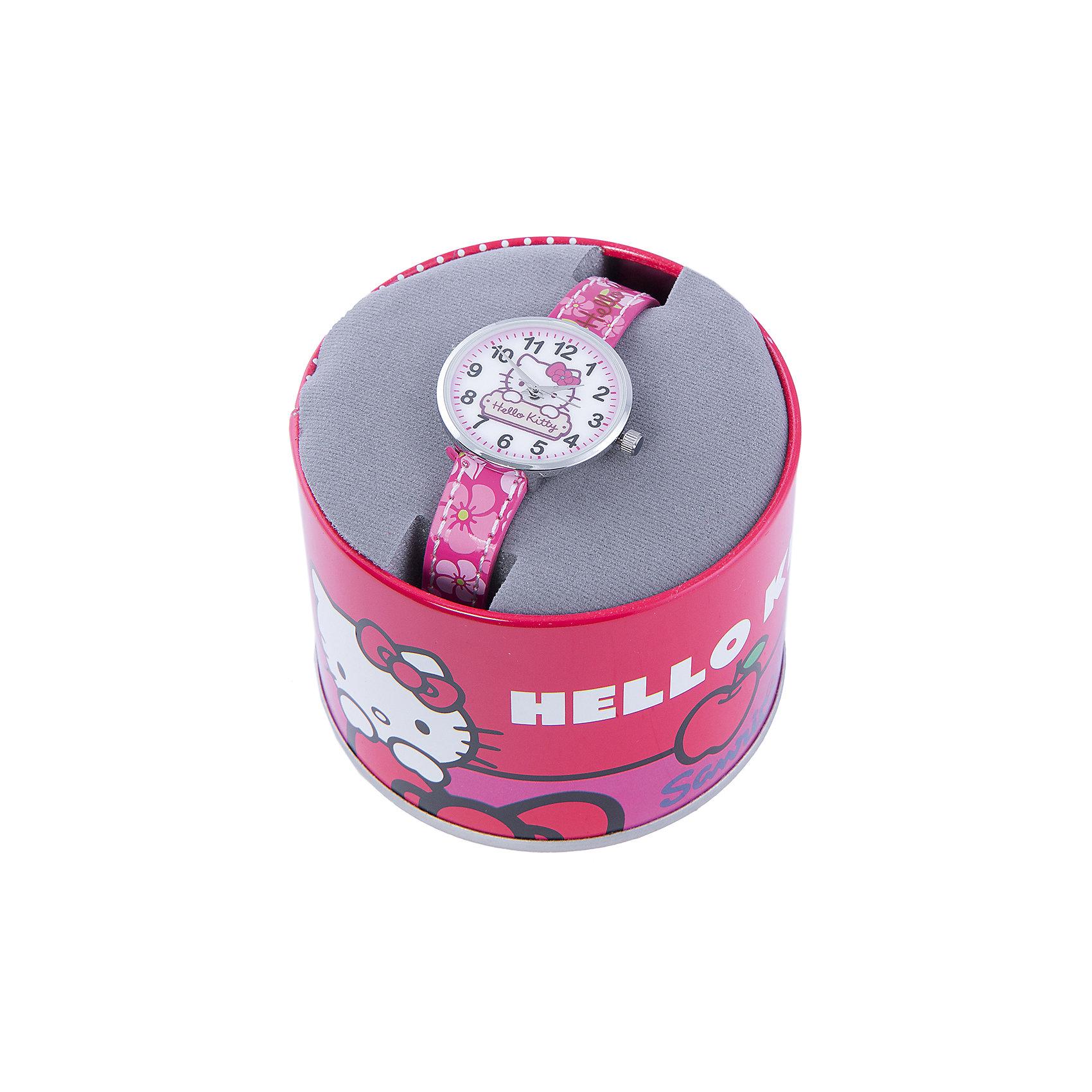 Часы наручные аналоговые, Hello KittyHello Kitty<br>Эксклюзивные наручные аналоговые часы торговой марки Hello Kitty выполнены по индивидуальному дизайну ООО «Детское Время» и лицензии компании Sanrio. Обилие деталей - декоративных элементов (страз, мерцающих ремешков), надписей,  уникальных изображений - делают изделие тщательно продуманным творением мастеров. Часы имеют высококачественный японский кварцевый механизм и отличаются надежностью и точностью хода. Часы водоустойчивы и обладают достаточной герметичностью, чтобы спокойно перенести случайный и незначительный контакт с жидкостями (дождь, брызги), но они не предназначены для плавания или погружения в воду. Циферблат защищен от повреждений прочным минеральным стеклом. Корпус часов выполнен из стали,  задняя крышка из нержавеющей стали. Материал браслета: искусственная кожа. Единица товара упаковывается в стильную подарочную коробочку. Неповторимый стиль с изобилием насыщенных и в тоже время нежных гамм; надежность и прочность изделия позволяют говорить о нем только в превосходной степени!<br><br>Ширина мм: 170<br>Глубина мм: 157<br>Высота мм: 67<br>Вес г: 117<br>Возраст от месяцев: 36<br>Возраст до месяцев: 2147483647<br>Пол: Женский<br>Возраст: Детский<br>SKU: 4424067