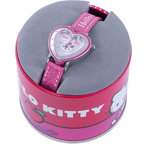 Часы наручные аналоговые, Hello KittyАксессуары<br>Эксклюзивные наручные аналоговые часы торговой марки Hello Kitty выполнены по индивидуальному дизайну ООО «Детское Время» и лицензии компании Sanrio. Обилие деталей - декоративных элементов (страз, мерцающих ремешков), надписей,  уникальных изображений - делают изделие тщательно продуманным творением мастеров. Часы имеют высококачественный японский кварцевый механизм и отличаются надежностью и точностью хода. Часы водоустойчивы и обладают достаточной герметичностью, чтобы спокойно перенести случайный и незначительный контакт с жидкостями (дождь, брызги), но они не предназначены для плавания или погружения в воду. Циферблат защищен от повреждений прочным минеральным стеклом. Корпус часов выполнен из стали,  задняя крышка из нержавеющей стали. Материал браслета: искусственная кожа. Единица товара упаковывается в стильную подарочную коробочку. Неповторимый стиль с изобилием насыщенных и в тоже время нежных гамм; надежность и прочность изделия позволяют говорить о нем только в превосходной степени!<br>Ширина мм: 170; Глубина мм: 157; Высота мм: 67; Вес г: 117; Возраст от месяцев: 36; Возраст до месяцев: 2147483647; Пол: Женский; Возраст: Детский; SKU: 4424068;