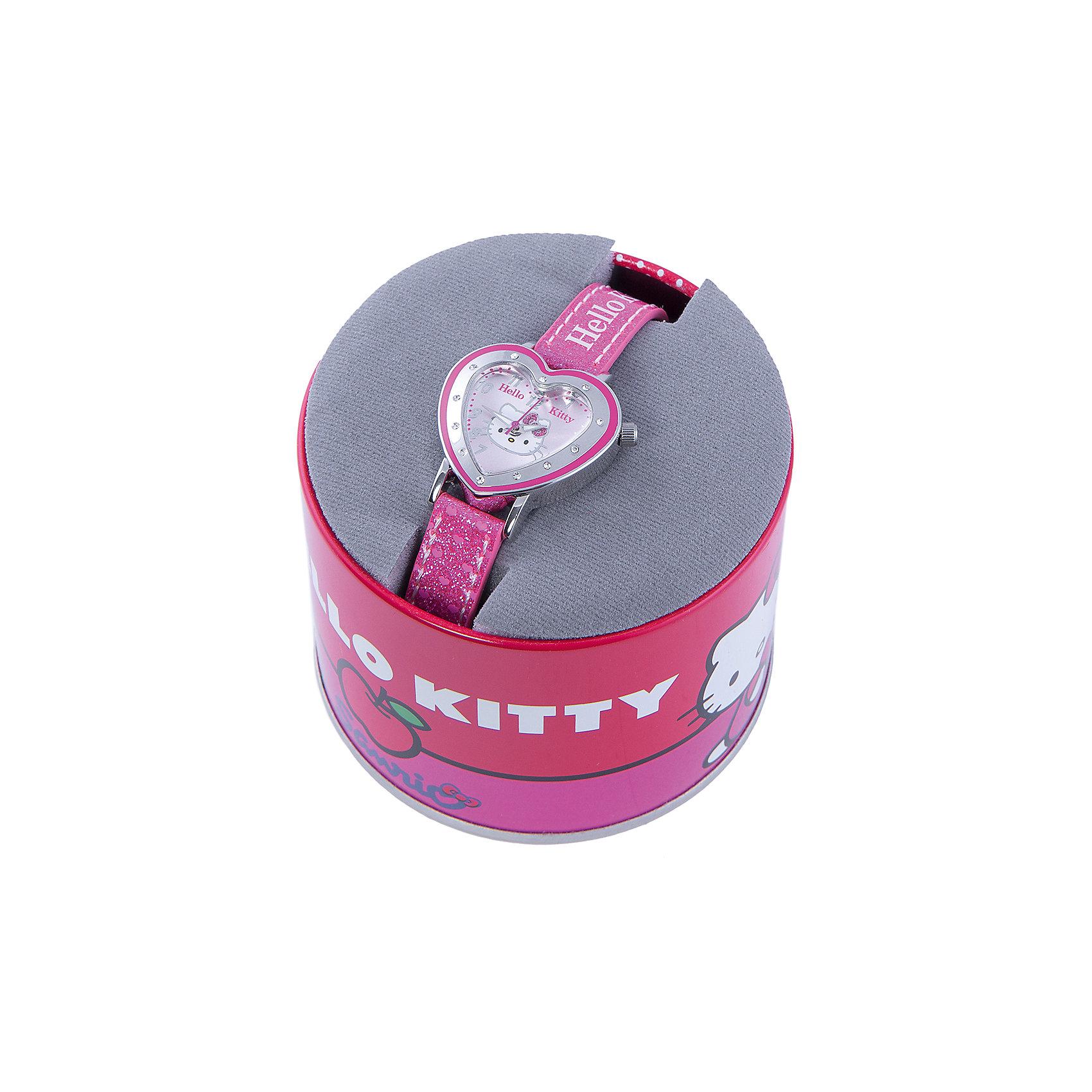 Часы наручные аналоговые, Hello KittyЭксклюзивные наручные аналоговые часы торговой марки Hello Kitty выполнены по индивидуальному дизайну ООО «Детское Время» и лицензии компании Sanrio. Обилие деталей - декоративных элементов (страз, мерцающих ремешков), надписей,  уникальных изображений - делают изделие тщательно продуманным творением мастеров. Часы имеют высококачественный японский кварцевый механизм и отличаются надежностью и точностью хода. Часы водоустойчивы и обладают достаточной герметичностью, чтобы спокойно перенести случайный и незначительный контакт с жидкостями (дождь, брызги), но они не предназначены для плавания или погружения в воду. Циферблат защищен от повреждений прочным минеральным стеклом. Корпус часов выполнен из стали,  задняя крышка из нержавеющей стали. Материал браслета: искусственная кожа. Единица товара упаковывается в стильную подарочную коробочку. Неповторимый стиль с изобилием насыщенных и в тоже время нежных гамм; надежность и прочность изделия позволяют говорить о нем только в превосходной степени!<br><br>Ширина мм: 170<br>Глубина мм: 157<br>Высота мм: 67<br>Вес г: 117<br>Возраст от месяцев: 36<br>Возраст до месяцев: 2147483647<br>Пол: Женский<br>Возраст: Детский<br>SKU: 4424068