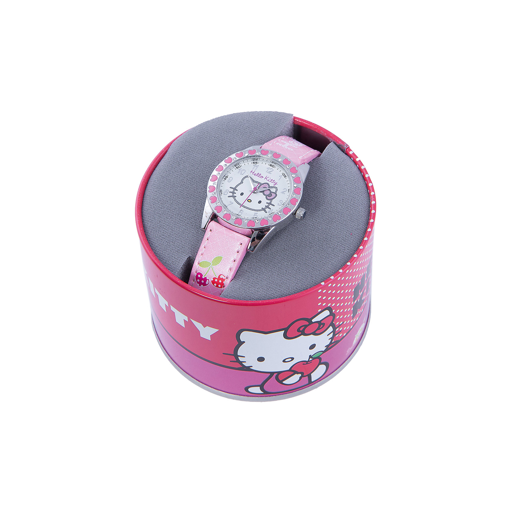 Часы наручные аналоговые, Hello KittyАксессуары<br>Эксклюзивные наручные аналоговые часы торговой марки Hello Kitty выполнены по индивидуальному дизайну ООО «Детское Время» и лицензии компании Sanrio. Обилие деталей - декоративных элементов (страз, мерцающих ремешков), надписей,  уникальных изображений - делают изделие тщательно продуманным творением мастеров. Часы имеют высококачественный японский кварцевый механизм и отличаются надежностью и точностью хода. Часы водоустойчивы и обладают достаточной герметичностью, чтобы спокойно перенести случайный и незначительный контакт с жидкостями (дождь, брызги), но они не предназначены для плавания или погружения в воду. Циферблат защищен от повреждений прочным минеральным стеклом. Корпус часов выполнен из стали,  задняя крышка из нержавеющей стали. Материал браслета: искусственная кожа. Единица товара упаковывается в стильную подарочную коробочку. Неповторимый стиль с изобилием насыщенных и в тоже время нежных гамм; надежность и прочность изделия позволяют говорить о нем только в превосходной степени!<br><br>Ширина мм: 170<br>Глубина мм: 157<br>Высота мм: 67<br>Вес г: 117<br>Возраст от месяцев: 36<br>Возраст до месяцев: 2147483647<br>Пол: Женский<br>Возраст: Детский<br>SKU: 4424069