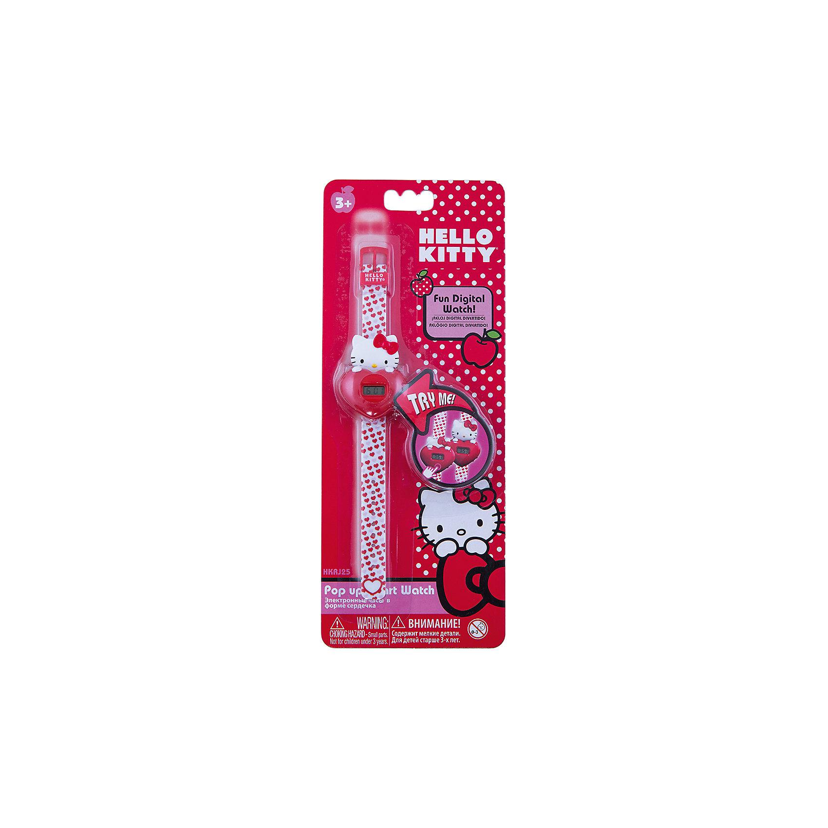 Часы наручные электронные в форме сердца, Hello KittyАксессуары<br>Яркие и красивые электронные наручные часы с корпусом и браслетом из пластика. Циферблат защищен от повреждений прочным пластиковым стеклом. Корпус часов сделан в форме очаровательной Китти с красным сердцем. Ремешок нежно-розового цвета украшен множеством сердечек.Электронные часы имеют 5 функций: месяц – день, часы – минуты – секунды. Товар изготовлен полностью из пластмассы с питанием от химических источников тока, 1 сменный элемент включен в комплект (LR41 (AG3) 1.5 V). . Рекомендуемый возраст: от 3 лет.Размер изделия (без упаковки): 4х2х21 см (ДШВ)<br><br>Ширина мм: 170<br>Глубина мм: 157<br>Высота мм: 67<br>Вес г: 117<br>Возраст от месяцев: 36<br>Возраст до месяцев: 2147483647<br>Пол: Женский<br>Возраст: Детский<br>SKU: 4424074
