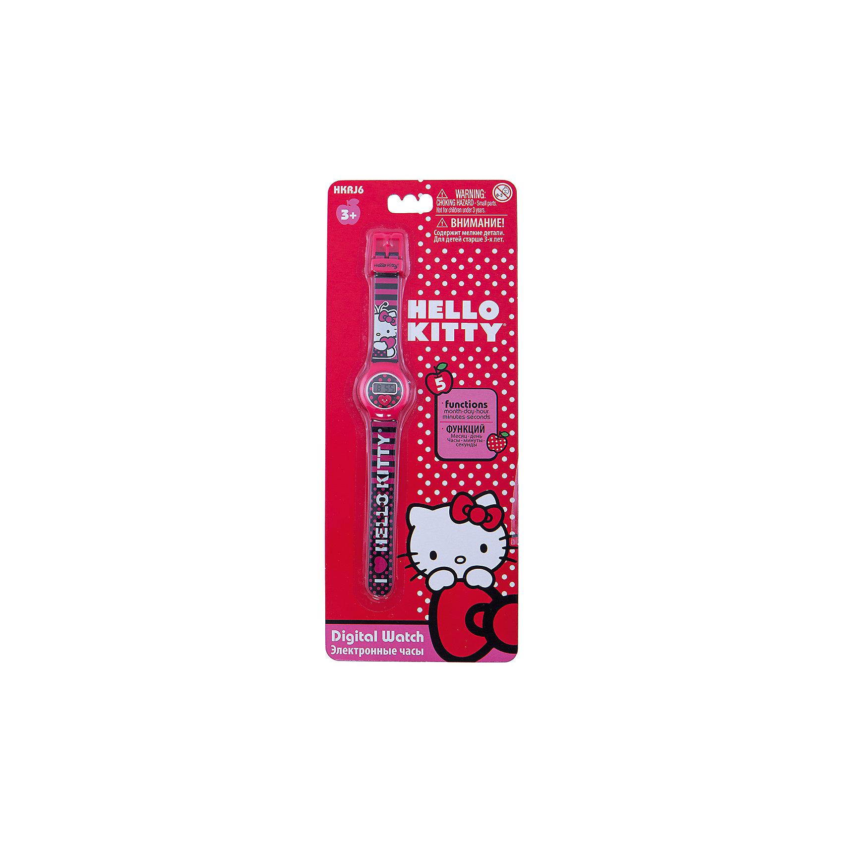 Часы наручные Hello KittyНОВИНКА 2014 года!!! Модные наручные электронные часы - не просто подарок, но и гарантия хорошего настроения, ведь это красивая вещь из качественного, безопасного для здоровья материала. Циферблат часов защищен от повреждений прочным пластиковым стеклом. Электронные часы имеют 5 функций: месяц – день, часы – минуты – секунды. Товар изготовлен полностью из высококачественной пластмассы с питанием от химических источников тока, 1 сменный элемент включен в комплект (LR41 (AG3) 1.5 V). Рекомендуемый возраст: от 3 лет.Размер изделия (без упаковки): 3х0,5х21 см (ДШВ)<br><br>Ширина мм: 170<br>Глубина мм: 157<br>Высота мм: 67<br>Вес г: 117<br>Возраст от месяцев: 36<br>Возраст до месяцев: 2147483647<br>Пол: Женский<br>Возраст: Детский<br>SKU: 4424075