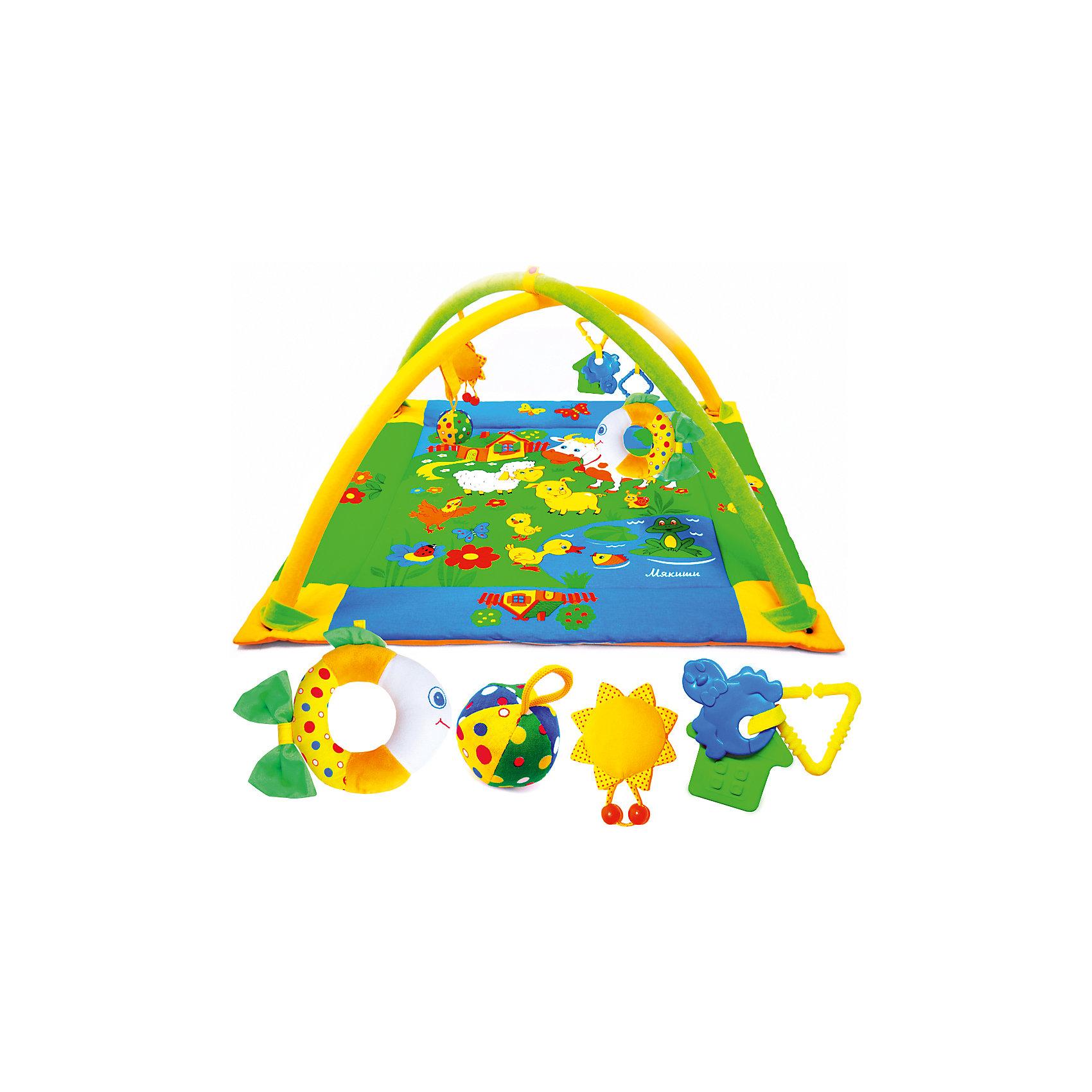 Развивающий коврик Лужайка с рыбкой, МякишиРазвивающие коврики<br>Развивающий коврик Лужайка с рыбкой, Мякиши, непременно привлечет внимание Вашего малыша и поможет в развитии самых важных навыков в первые месяцы жизни. Мягкий красочный коврик украшен изображениями зеленой лужайки с прудиком, домиком и веселыми домашними зверюшками. Благодаря большому размеру ребенок может лежать на коврике на спинке и на животике, а затем и ползать по нему, рассматривая привлекательные картинки и изучая спрятанные секреты. У домика открываются и закрываются текстильные окошки, озеро издает хрустящий звук, а утенок крякает. Дуги в виде арок помогут малышу расслабиться и создают эффект безопасного замкнутого пространства. На них можно повесить мягкие забавные игрушки (входят в комплект) в виде рыбки с погремушкой внутри, мячика-погремушки, звездочки-пищалки, а также два прорезывателя. Коврик от Мякишей - это прекрасный сенсорный тренажер, который учит малыша ориентироваться в пространстве, развивает тактильное, звуковое и цветовое восприятия, координацию движений и мелкую моторику рук.<br><br>Дополнительная информация:<br><br>- Комплект: коврик, 2 дуги, 3 игрушки, 2 прорезывателя.<br>- Материал: 100% х/б ткань, мех, трикотаж, холлофайбер, фурнитура.<br>- Размер коврика: 90 х 90 см.<br>- Размер упаковки: 85 х 61,5 х 7 см.<br>- Вес: 1,2 кг.<br><br>Развивающий коврик Лужайка с рыбкой, Мякиши, можно купить в нашем интернет-магазине.<br><br>Ширина мм: 900<br>Глубина мм: 900<br>Высота мм: 150<br>Вес г: 1200<br>Возраст от месяцев: 0<br>Возраст до месяцев: 24<br>Пол: Унисекс<br>Возраст: Детский<br>SKU: 4424927