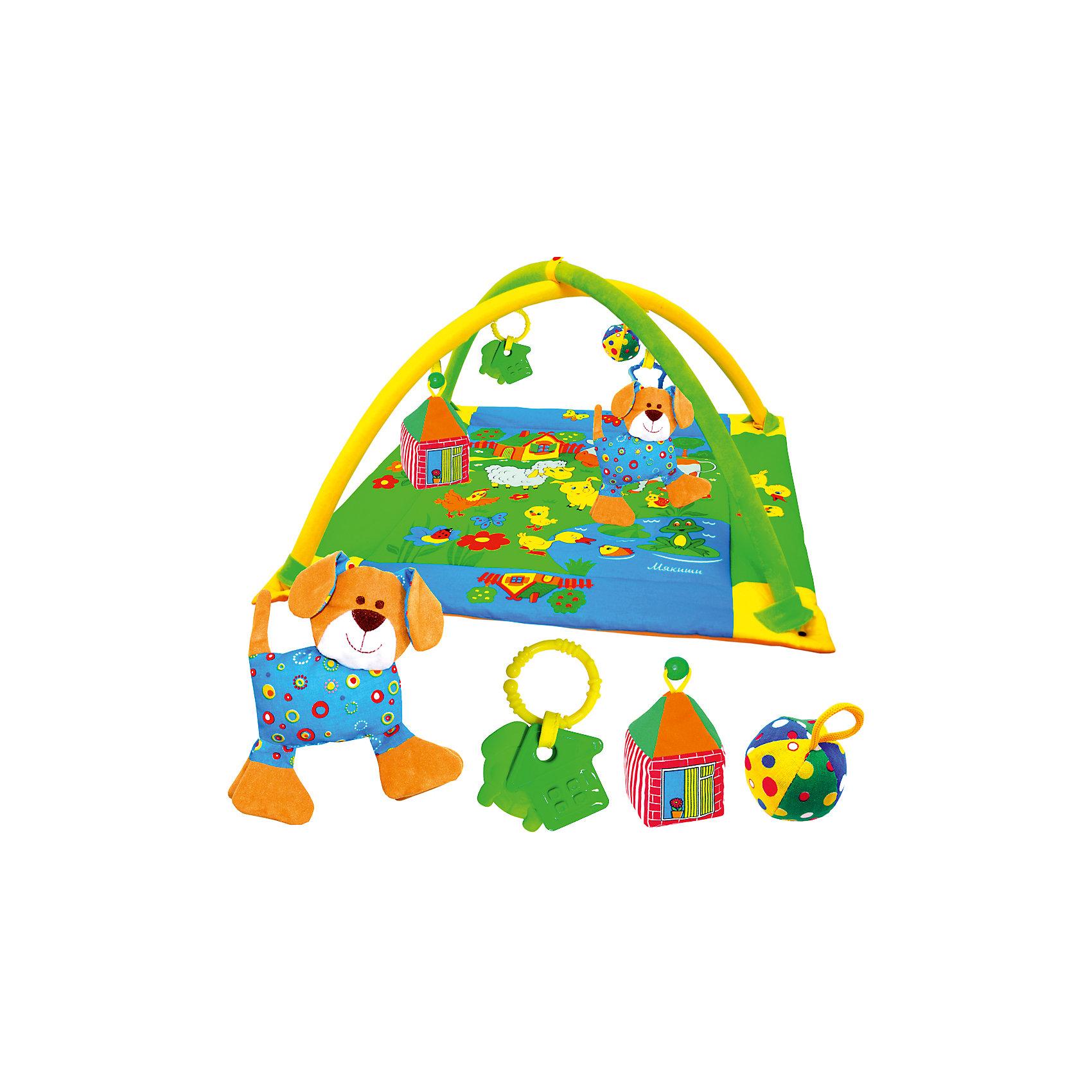 Развивающий коврик Лужайка с собачкой, МякишиРазвивающий коврик Лужайка с собачкой, Мякиши, непременно привлечет внимание Вашего малыша и поможет в развитии самых важных навыков в первые месяцы жизни. Мягкий красочный коврик украшен изображениями зеленой лужайки с прудиком, домиком и веселыми домашними зверюшками. Благодаря большому размеру ребенок может лежать на коврике на спинке и на животике, а затем и ползать по нему, рассматривая привлекательные картинки и изучая спрятанные секреты. У домика открываются и закрываются текстильные окошки, озеро издает хрустящий звук, а утенок крякает. Дуги в виде арок помогут малышу расслабиться и создают эффект безопасного замкнутого пространства. На них можно повесить мягкие забавные игрушки (входят в комплект): добродушного песика с погремушкой внутри, мячик-погремушку, разноцветный домик с открывающимся окошком, а также два прорезывателя для зубов. Коврик от Мякишей - это прекрасный сенсорный тренажер, который учит малыша ориентироваться в пространстве, развивает тактильное, звуковое и цветовое восприятия, координацию движений и мелкую моторику рук.<br><br>Дополнительная информация:<br><br>- Комплект: коврик, 2 дуги, 3 мягкие игрушки, 2 прорезывателя.<br>- Материал: 100% х/б ткань, мех, трикотаж, холлофайбер, фурнитура.<br>- Размер коврика: 90 х 90 см.<br>- Размер упаковки: 85 х 61,5 х 7 см.<br>- Вес: 1,2 кг.<br><br>Развивающий коврик Лужайка с собачкой, Мякиши, можно купить в нашем интернет-магазине.<br><br>Ширина мм: 900<br>Глубина мм: 900<br>Высота мм: 150<br>Вес г: 1200<br>Возраст от месяцев: 0<br>Возраст до месяцев: 24<br>Пол: Унисекс<br>Возраст: Детский<br>SKU: 4424928
