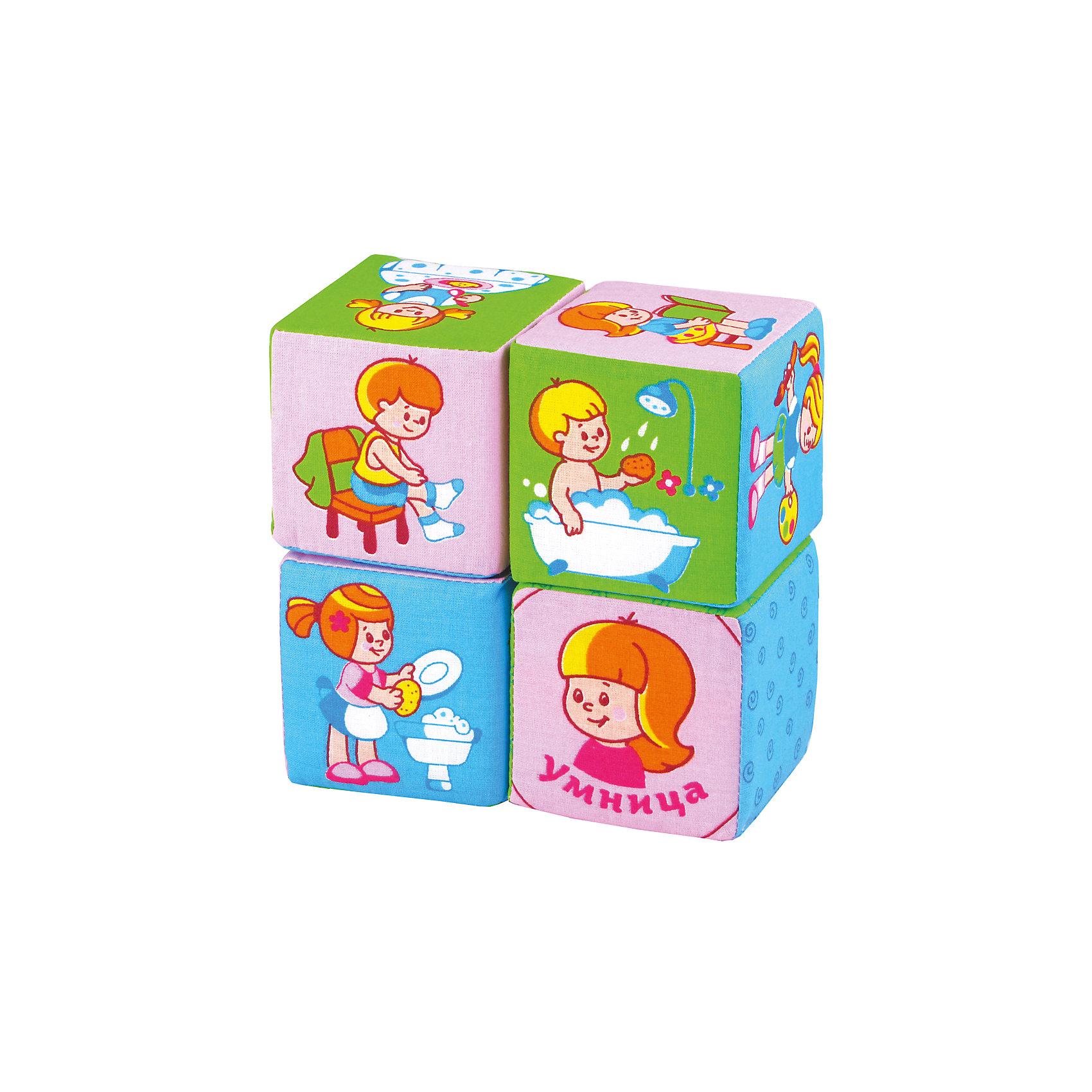 Кубики Режим дня, МякишиКубики<br>Кубики Режим дня, Мякиши, в веселой игровой форме поможет приучить малыша к распорядку дня: умываться, убирать за собой игрушки, заправлять постель и выполнять другие полезные действия. Игрушка выполнена в виде мягких красочных кубиков, на трех из них изображены 16 заданий для малыша на каждый день, на четвертом кубике изображены молодец и умница для оценки деятельности малыша. Форма и содержание набора разработаны с учётом возрастных особенностей ребёнка. Красочные кубики с картинками-заданиями сделают обучение доступным и интересным. Ребенок узнает и сможет запомнить основные и дополнительные цвета, обязательные ежедневные дела, которые есть у каждого человека, научится соотносить время суток и соответствующие трудовые и бытовые действия людей. Кубики изготовлены из мягких, приятных на ощупь гипоаллергенных материалов. Способствуют развитию у малыша мышления, речи, мелкой моторики, памяти, внимания, усидчивости, самостоятельности.<br><br>Дополнительная информация:<br><br>- В комплекте: 4 кубика.<br>- Материал: 100% х/б ткань, поролон.<br>- Размер кубика: 8 х 8 см. <br>- Размер упаковки: 28 х 17 х 8 см.<br>- Вес: 0,2 кг.<br><br>Кубики Режим дня, Мякиши, можно купить в нашем интернет-магазине.<br><br>Ширина мм: 280<br>Глубина мм: 170<br>Высота мм: 80<br>Вес г: 200<br>Возраст от месяцев: 12<br>Возраст до месяцев: 36<br>Пол: Унисекс<br>Возраст: Детский<br>SKU: 4424935