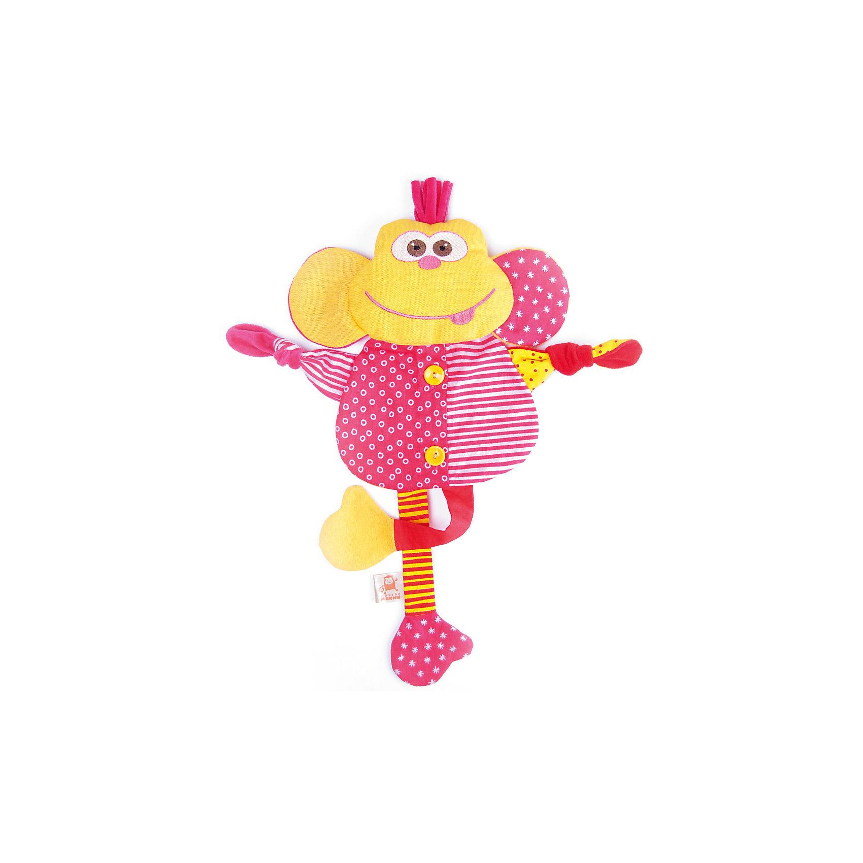 Игрушка «Доктор Мартышка», МякишиИгрушка Доктор Мартышка, Мякиши - красочная развивающая игрушка, которая обязательно привлечет внимание Вашего малыша. Забавная мартышка с большими ушками выполнена из разноцветных разнофактурных материалов, лапки-ленточки можно развязывать и завязывать узелком. Внутри игрушки находится звуковой элемент - мешочек с вишнёвыми косточками, которые можно разогревать в микроволновке и остужать в морозилке. Благодаря гигроскопичным свойствам вишнёвая косточка хорошо сохраняет тепло и холод. Красочное оформление и множество занимательных игровых элементов помогут сенсорному и эмоциональному развитию вашего малыша и подарят ему радость. Обезьянка изготовлена из высококачественных тканей (хлопок и лен), не изнашивается, хорошо переносит многочисленные стирки и не накапливает на себе статическое электричество. Способствует эмоциональному и речевому развитию, обогащает слуховое и зрительное восприятие, тренирует мелкую моторику.<br><br>Дополнительная информация:<br><br>- Материал: лён, вишнёвая косточка, трикотажные полотна, хлопок, швейная фурнитура, холлофайбер.<br>- Высота мартышки: 40 см.<br>- Размер упаковки: 44 х 26 х 5 см.<br>- Вес: 0,3 кг.<br><br>Игрушку Доктор Мартышка, Мякиши, можно купить в нашем интернет-магазине.<br><br>Ширина мм: 440<br>Глубина мм: 260<br>Высота мм: 50<br>Вес г: 300<br>Возраст от месяцев: 12<br>Возраст до месяцев: 36<br>Пол: Унисекс<br>Возраст: Детский<br>SKU: 4424939