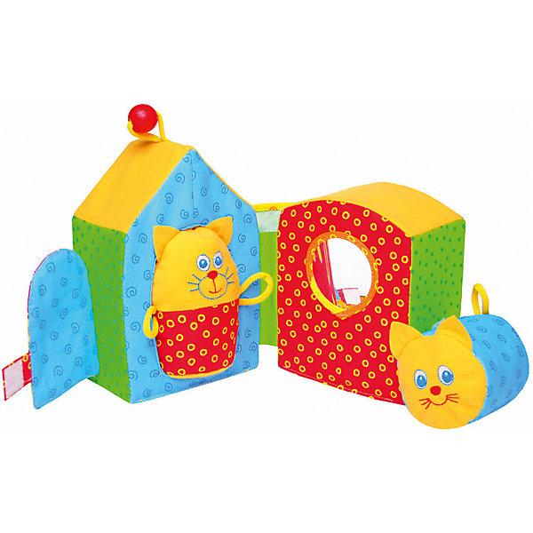 Игрушка Кошкин Дом, МякишиРазвивающие центры<br>Игрушка Кошкин Дом, Мякиши - забавная развивающая игрушка, которая обязательно привлечет внимание Вашего малыша. Игрушка выполнена в виде красочного мягкого домика с симпатичными обитателями - Кошкой и Котиком. Домик раскладывается на две половинки с отверстиями в которые так интересно вставлять и вытаскивать забавные фигурки. Исследуя домик малыш обнаружит интересные детали - безопасное мягкое зеркальце, кармашек, в который можно засунуть котенка, дверцу на липучке. Вместе с ребенком Вы сможете разыграть целое театральное представление о кошках, живущих в домике. Игрушка очень мягкая и приятная на ощупь, изготовлена из гипоаллергенных материалов. Способствует развитию логического мышления, тактильного, слухового и цветовосприятия, тренирует мелкую моторику.<br><br>Дополнительная информация:<br><br>- Комплект: мягкий домик, 2 мягкие фигурки с погремушкой и пищалкой.<br>- Материал: 100% х/б ткань, трикотаж, звуковые элементы, поролон, холлофайбер, шнурок, деревянный шарик.<br>- Размер домика: 18 х 16 х 13 см.<br>- Вес: 150 гр.<br><br>Игрушку Кошкин Дом, Мякиши, можно купить в нашем интернет-магазине.<br>Ширина мм: 180; Глубина мм: 160; Высота мм: 130; Вес г: 150; Возраст от месяцев: 12; Возраст до месяцев: 36; Пол: Унисекс; Возраст: Детский; SKU: 4424941;