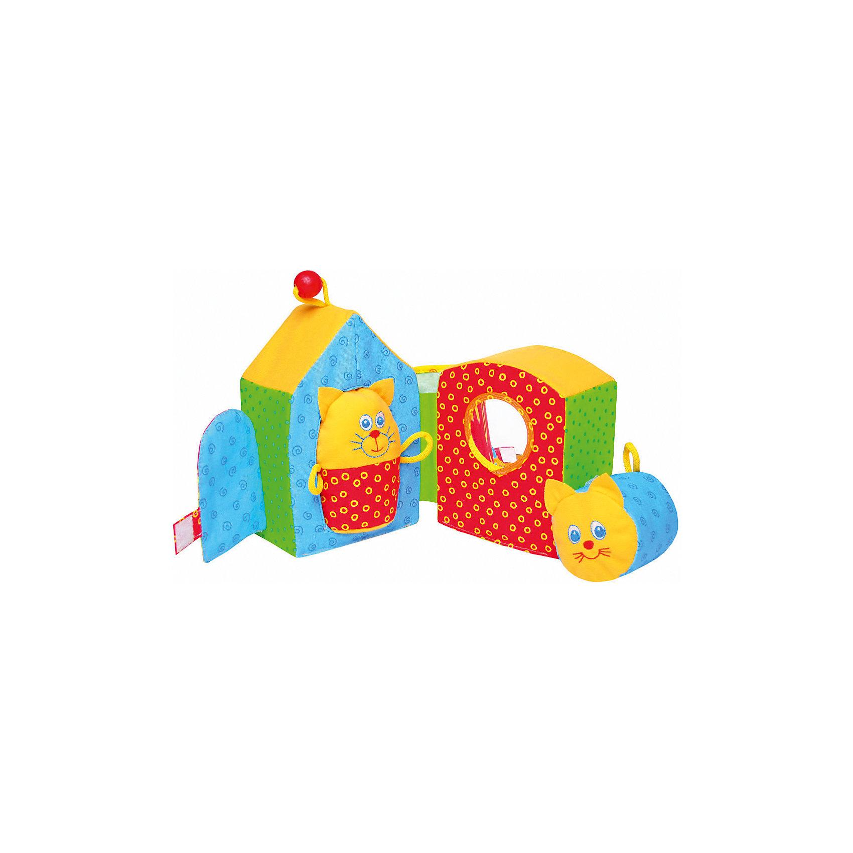 Игрушка Кошкин Дом, МякишиМягкие игрушки<br>Игрушка Кошкин Дом, Мякиши - забавная развивающая игрушка, которая обязательно привлечет внимание Вашего малыша. Игрушка выполнена в виде красочного мягкого домика с симпатичными обитателями - Кошкой и Котиком. Домик раскладывается на две половинки с отверстиями в которые так интересно вставлять и вытаскивать забавные фигурки. Исследуя домик малыш обнаружит интересные детали - безопасное мягкое зеркальце, кармашек, в который можно засунуть котенка, дверцу на липучке. Вместе с ребенком Вы сможете разыграть целое театральное представление о кошках, живущих в домике. Игрушка очень мягкая и приятная на ощупь, изготовлена из гипоаллергенных материалов. Способствует развитию логического мышления, тактильного, слухового и цветовосприятия, тренирует мелкую моторику.<br><br>Дополнительная информация:<br><br>- Комплект: мягкий домик, 2 мягкие фигурки с погремушкой и пищалкой.<br>- Материал: 100% х/б ткань, трикотаж, звуковые элементы, поролон, холлофайбер, шнурок, деревянный шарик.<br>- Размер домика: 18 х 16 х 13 см.<br>- Вес: 150 гр.<br><br>Игрушку Кошкин Дом, Мякиши, можно купить в нашем интернет-магазине.<br><br>Ширина мм: 180<br>Глубина мм: 160<br>Высота мм: 130<br>Вес г: 150<br>Возраст от месяцев: 12<br>Возраст до месяцев: 36<br>Пол: Унисекс<br>Возраст: Детский<br>SKU: 4424941