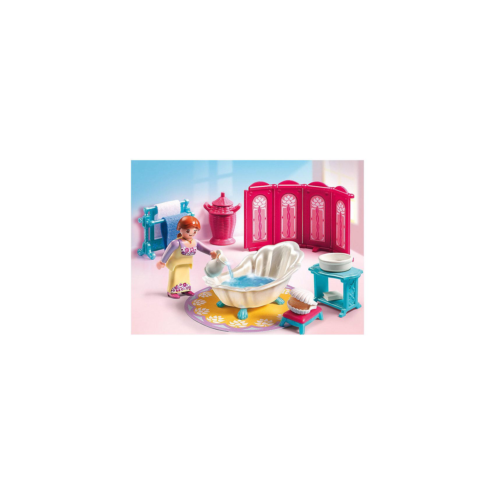 PLAYMOBIL 5147 Сказочный дворец: Королевская ванная комнатаИзвестный бренд  Playmobil дарит своим  друзьям  игровой набор с элементами конструктора Королевская ванная комната<br>Даже в ванной у королевской особы должно быть все по королевские!<br><br>В наборе:<br>- ванна в форме ракушки, коврик, фигурка девушки, ширма, два полотенца, корзина, пуфик, кувшин, тазик, мыло, мыльница, вешалка, столик.<br><br>Ширина мм: 200<br>Глубина мм: 150<br>Высота мм: 80<br>Вес г: 150<br>Возраст от месяцев: 48<br>Возраст до месяцев: 120<br>Пол: Женский<br>Возраст: Детский<br>SKU: 4435307