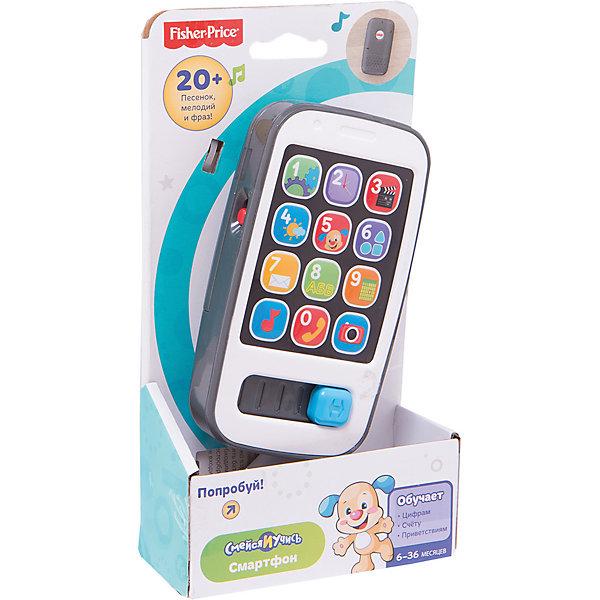 Умный телефон Смейся и учись Fisher-PriceДетские гаджеты<br>Новый и красивый телефон специально для самых маленьких! Нажмите любую кнопку, чтобы услышать песни и фразы о числах, приветствиях, счете и многом другом. Свет мигает в такт музыке. Ребенок может передвигать слайдер-ползунок, чтобы активировать дополнительные песни и звуки. Игрушка выполнена из высококачественных безопасных для детей материалов.<br><br>Дополнительная информация:<br><br>- Материал: пластик.<br>- Размер: 4,5х11х20,5 см.<br>- Звуковые эффекты. <br>- Элемент питания: 2 АА батарейки (демонстрационные в комплекте).<br>- 20 мелодий и фраз.<br>- Основные правила счета.  <br><br>Умный телефон Смейся и учись, Fisher-Price, можно купить в нашем магазине.<br><br>Ширина мм: 205<br>Глубина мм: 110<br>Высота мм: 45<br>Вес г: 202<br>Возраст от месяцев: 6<br>Возраст до месяцев: 24<br>Пол: Унисекс<br>Возраст: Детский<br>SKU: 4435736