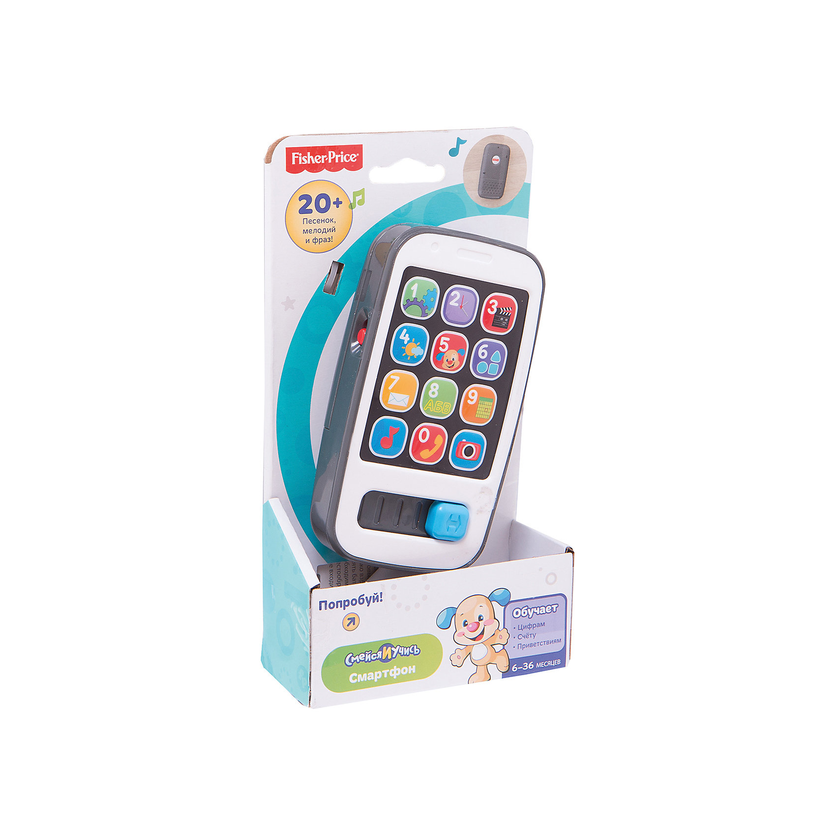 Умный телефон Смейся и учись Fisher-PriceНовый и красивый телефон специально для самых маленьких! Нажмите любую кнопку, чтобы услышать песни и фразы о числах, приветствиях, счете и многом другом. Свет мигает в такт музыке. Ребенок может передвигать слайдер-ползунок, чтобы активировать дополнительные песни и звуки. Игрушка выполнена из высококачественных безопасных для детей материалов.<br><br>Дополнительная информация:<br><br>- Материал: пластик.<br>- Размер: 4,5х11х20,5 см.<br>- Звуковые эффекты. <br>- Элемент питания: 2 АА батарейки (демонстрационные в комплекте).<br>- 20 мелодий и фраз.<br>- Основные правила счета.  <br><br>Умный телефон Смейся и учись, Fisher-Price, можно купить в нашем магазине.<br><br>Ширина мм: 205<br>Глубина мм: 110<br>Высота мм: 45<br>Вес г: 202<br>Возраст от месяцев: 6<br>Возраст до месяцев: 24<br>Пол: Унисекс<br>Возраст: Детский<br>SKU: 4435736