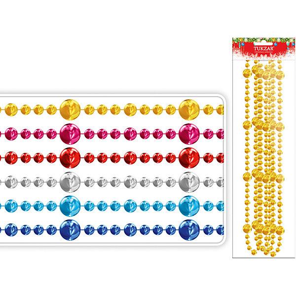 Декоративные бусы 2,7 м (цвета в ассортименте)Новогодняя мишура и бусы<br>Декоративные бусы 2,7 м (цвета в ассортименте) – это великолепное украшение придаст елке особое очарование.<br>Декоративные бусы — это волшебное украшение, которое прекрасно подойдет для декорирования елки. Нарядные бусы из бусинок разного диаметра будут идеально сочетаться с огоньками и другими игрушками. Бусы можно использовать не только для того, что бы нарядить зеленую красавицу, ими можно украсить детали интерьера: торшер, полку, всевозможные переключатели и ручки. Украсив елку и предметы интерьера этими бусами, вы создадите атмосферу фантастического праздника.<br><br>Дополнительная информация:<br><br>- В ассортименте: 6 цветов<br>- Материал: пластик<br>- Длина бус: 2,7 м.<br>- ВНИМАНИЕ! Данный артикул представлен в разных вариантах исполнения. К сожалению, заранее выбрать определенный вариант невозможно. При заказе нескольких бус возможно получение одинаковых.<br><br>Декоративные бусы 2,7 м (цвета в ассортименте) можно купить в нашем интернет-магазине.<br>Ширина мм: 100; Глубина мм: 50; Высота мм: 200; Вес г: 200; Возраст от месяцев: 36; Возраст до месяцев: 2147483647; Пол: Унисекс; Возраст: Детский; SKU: 4437433;