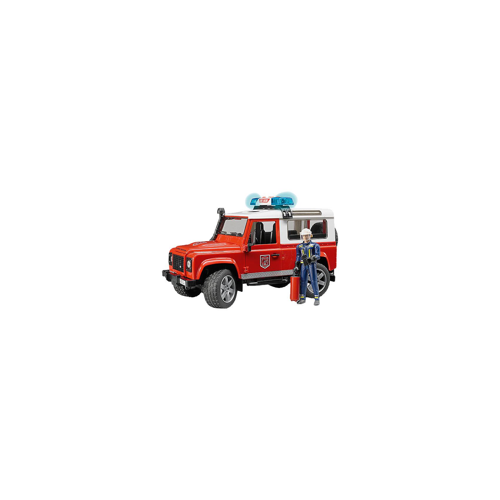 Внедорожник с фигуркой Land Rover Defender Station Wagon, BruderВнедорожник Land Rover Defender Пожарная с фигуркой, Bruder (Брудер) – это реалистичный игровой набор со звуковыми и световыми эффектами.<br>Внедорожник Land Rover Defender Пожарная от немецкого производителя игрушек Bruder (Брудер) напоминает автомобиль марки Land Rover Defender Station Wagon и выглядит очень реалистично. Автомобиль выполнен в виде спецтранспорта пожарной службы, поэтому имеет соответствующий цвет кузова и декоративные надписи. Помимо открывающихся дверей, багажника и капота, а также съемных задних сидений, у машинки есть работающая рулевая передача - передние колеса поворачиваются вслед за рулем. Машинкой можно управлять через открытый люк в крыше при помощи специального рычага, который удлиняет рулевую стойку. На передних и задних осях внедорожника установлены амортизаторы, позволяющие машине ездить даже по неровной поверхности, преодолевая различные препятствия. Прорезиненные колеса с рельефными протекторами выполнены очень правдоподобно. С левой стороны кабины проходит выхлопная труба. На задней двери находится запасное колесо. На внедорожник можно установить мигалку, которая работает в 4 звуковых режимах (звук работающего двигателя или один из трех видов сирены) и светится. Фигурка пожарного выполнена в отличном качестве, все детали тщательно проработаны. Руки и ноги игрушки подвижны, пазы на руках могут удерживать руль машинки и аксессуары из набора. В экипировку пожарного входят рация, огнетушитель, перчатки и каска. Каску можно снимать и одевать. Продукция сертифицирована, экологически безопасна для ребенка, использованные красители не токсичны и гипоаллергенны.<br><br>Дополнительная информация:<br><br>- В комплекте: машинка, фигурка пожарного, универсальная мигалка, аксессуары<br>- Размер внедорожника: 28х14х15,3 см.<br>- Масштаб 1:16<br>- Материал: высококачественный пластик<br>- Батарейки: 3 типа AG13 / LR44 (входят в комплект)<br><br>Внедорожник Land Rover Defender Пожарная