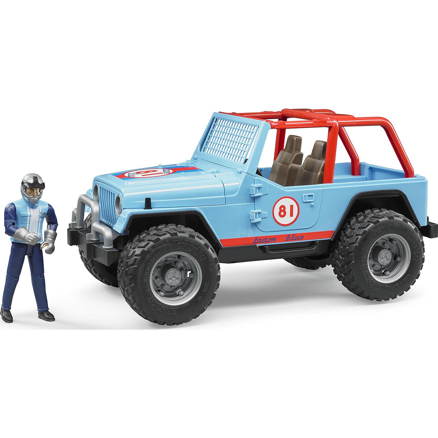 Внедорожник с гонщиком Cross Country Racer, синий, BruderМашинки<br>Внедорожник Cross Country Racer синий с гонщиком, Bruder (Брудер) – это игрушка, отличающаяся особой реалистичностью и правдоподобностью.<br>Внедорожник Cross Country Racer от немецкого производителя игрушек Bruder (Брудер) просто создан для соревнований и гонок. Он напоминает автомобиль марки Jeep Cross Country Racer. Автомобиль выглядит очень реалистично за счет детализации и проработки кузова, который дополнен яркими наклейками с номером участника гонок. Вместо лобового стекла у внедорожника установлена голубая решетка. По бокам машины стекол нет. В салоне находятся два сидения. Двери, багажник и капот открываются, под капотом расположен мощный двигатель. Есть фаркоп. На передних и задних осях внедорожника установлены амортизаторы, позволяющие машине проехать по любой трассе. Большие прорезиненные колеса с рельефными протекторами обеспечивают отличное сцепление с дорогой. В наборе имеется фигурка водителя. Водитель одет в синий костюм с голубым жилетом и перчатки, а на его голове находится шлем с креплением на подбородке для безопасной езды. Игрушка изготовлена из высококачественного пластика, устойчивого к износу и ударам. Продукция сертифицирована, экологически безопасна для ребенка, использованные красители не токсичны и гипоаллергенны.<br><br>Дополнительная информация:<br><br>- В комплекте: машинка, фигурка гонщика, шлем<br>- Размер внедорожника: 29,5x15x15 см.<br>- Масштаб 1:16<br>- Материал: высококачественный пластик<br>- Цвет: синий, красный, черный<br><br>Внедорожник Cross Country Racer синий с гонщиком, Bruder (Брудер) можно купить в нашем интернет-магазине.<br><br>Ширина мм: 385<br>Глубина мм: 182<br>Высота мм: 162<br>Вес г: 771<br>Возраст от месяцев: 36<br>Возраст до месяцев: 96<br>Пол: Мужской<br>Возраст: Детский<br>SKU: 4439592