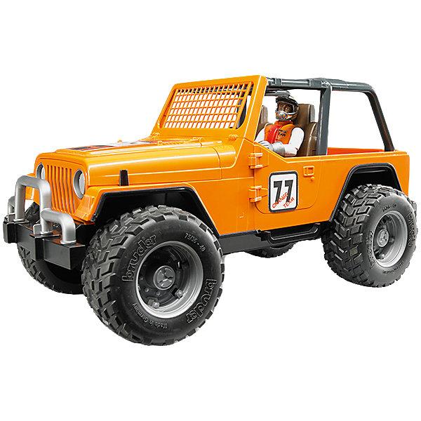 Внедорожник с гонщиком Cross Country Racer, оранжевый, BruderМашинки<br>Внедорожник Cross Country Racer оранжевый с гонщиком, Bruder (Брудер) – игрушка, отличающаяся особой реалистичностью и правдоподобностью.<br>Внедорожник Cross Country Racer от немецкого производителя игрушек Bruder (Брудер) просто создан для соревнований и гонок. Он напоминает автомобиль марки Jeep Cross Country Racer. Автомобиль выглядит очень реалистично за счет детализации и проработки кузова, который дополнен яркими наклейками с номером участника гонок. Вместо лобового стекла у внедорожника установлена оранжевая решетка. По бокам машины стекол нет. В салоне находятся два сидения. Двери, багажник и капот открываются, под капотом расположен мощный двигатель. Есть фаркоп. На передних и задних осях внедорожника установлены амортизаторы, позволяющие машине проехать по любой трассе. Большие прорезиненные колеса с рельефными протекторами обеспечивают отличное сцепление с дорогой. В наборе имеется фигурка водителя. Водитель одет в белый костюм с оранжевым жилетом и перчатки, а на его голове находится шлем с креплением на подбородке для безопасной езды. Игрушка изготовлена из высококачественного пластика, устойчивого к износу и ударам. Продукция сертифицирована, экологически безопасна для ребенка, использованные красители не токсичны и гипоаллергенны.<br><br>Дополнительная информация:<br><br>- В комплекте: машинка, фигурка гонщика, шлем<br>- Размер внедорожника: 29,5x15x15 см.<br>- Масштаб 1:16<br>- Материал: высококачественный пластик<br>- Цвет: оранжевый, черный<br><br>Внедорожник Cross Country Racer оранжевый с гонщиком, Bruder (Брудер) можно купить в нашем интернет-магазине.<br><br>Ширина мм: 391<br>Глубина мм: 182<br>Высота мм: 162<br>Вес г: 787<br>Возраст от месяцев: 48<br>Возраст до месяцев: 96<br>Пол: Мужской<br>Возраст: Детский<br>SKU: 4439593