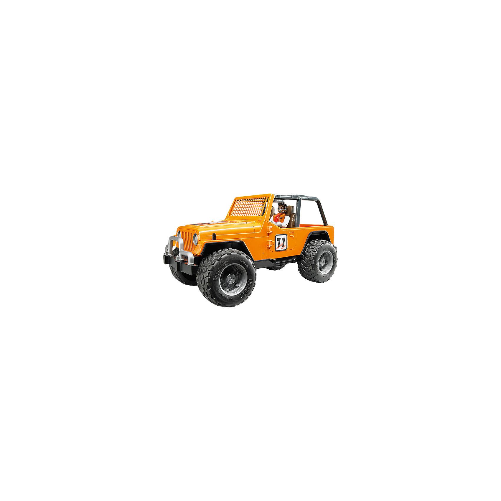Внедорожник с гонщиком Cross Country Racer, оранжевый, BruderВнедорожник Cross Country Racer оранжевый с гонщиком, Bruder (Брудер) – игрушка, отличающаяся особой реалистичностью и правдоподобностью.<br>Внедорожник Cross Country Racer от немецкого производителя игрушек Bruder (Брудер) просто создан для соревнований и гонок. Он напоминает автомобиль марки Jeep Cross Country Racer. Автомобиль выглядит очень реалистично за счет детализации и проработки кузова, который дополнен яркими наклейками с номером участника гонок. Вместо лобового стекла у внедорожника установлена оранжевая решетка. По бокам машины стекол нет. В салоне находятся два сидения. Двери, багажник и капот открываются, под капотом расположен мощный двигатель. Есть фаркоп. На передних и задних осях внедорожника установлены амортизаторы, позволяющие машине проехать по любой трассе. Большие прорезиненные колеса с рельефными протекторами обеспечивают отличное сцепление с дорогой. В наборе имеется фигурка водителя. Водитель одет в белый костюм с оранжевым жилетом и перчатки, а на его голове находится шлем с креплением на подбородке для безопасной езды. Игрушка изготовлена из высококачественного пластика, устойчивого к износу и ударам. Продукция сертифицирована, экологически безопасна для ребенка, использованные красители не токсичны и гипоаллергенны.<br><br>Дополнительная информация:<br><br>- В комплекте: машинка, фигурка гонщика, шлем<br>- Размер внедорожника: 29,5x15x15 см.<br>- Масштаб 1:16<br>- Материал: высококачественный пластик<br>- Цвет: оранжевый, черный<br><br>Внедорожник Cross Country Racer оранжевый с гонщиком, Bruder (Брудер) можно купить в нашем интернет-магазине.<br><br>Ширина мм: 391<br>Глубина мм: 182<br>Высота мм: 162<br>Вес г: 787<br>Возраст от месяцев: 48<br>Возраст до месяцев: 96<br>Пол: Мужской<br>Возраст: Детский<br>SKU: 4439593