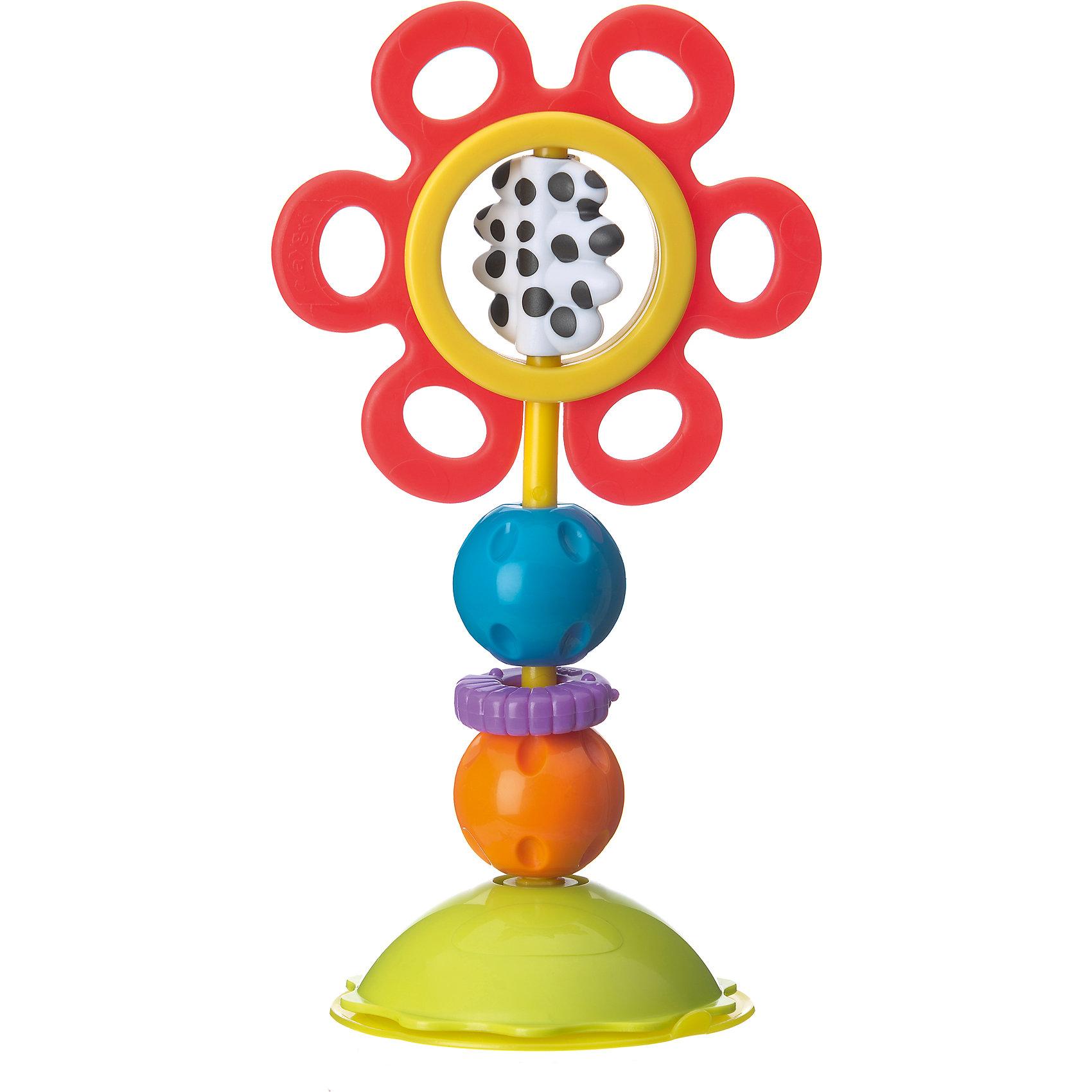 Игрушка-погремушка, PlaygroИгрушка легко и надежно крепится к ровной гладкой поверхности. Красный цветок вращается при малейшем прикосновении, изготовлен из мягкого пластика, в период прорезывания зубов малыши с радостью будут грызть его лепестки. Сердцевина выполнена из контрастных черно-белых цветов, представляет собой отдельный элемент, который тоже можно вращать. Разноцветные шарики можно вращать, при этом они издают веселые щелкающие звуки. Фиолетовое кольцо с рифленой поверхностью легко крутится вокруг основания. Игрушка способствует развитию тактильных ощущений, визуального и слухового восприятия, моторики, когнитивных навыков.<br><br>Ширина мм: 160<br>Глубина мм: 100<br>Высота мм: 265<br>Вес г: 198<br>Возраст от месяцев: 0<br>Возраст до месяцев: 12<br>Пол: Унисекс<br>Возраст: Детский<br>SKU: 4440497